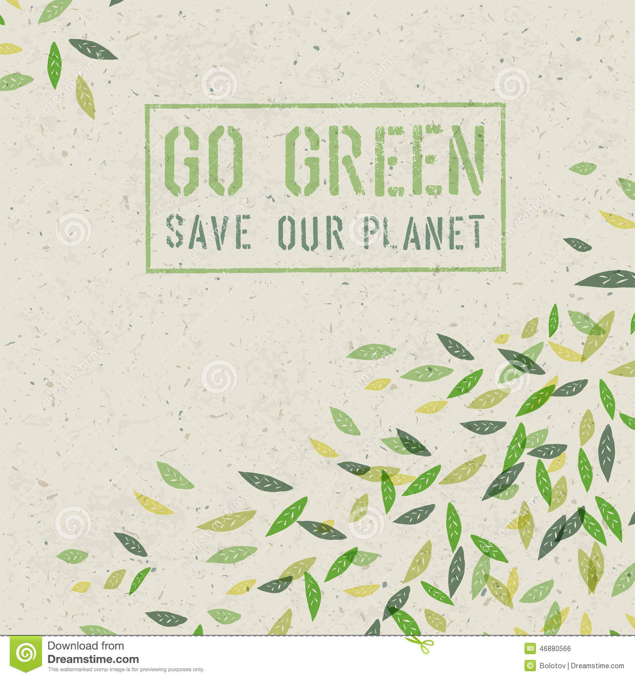 Go Green Concept On Recycled Paper Texture. Vector Stock ...