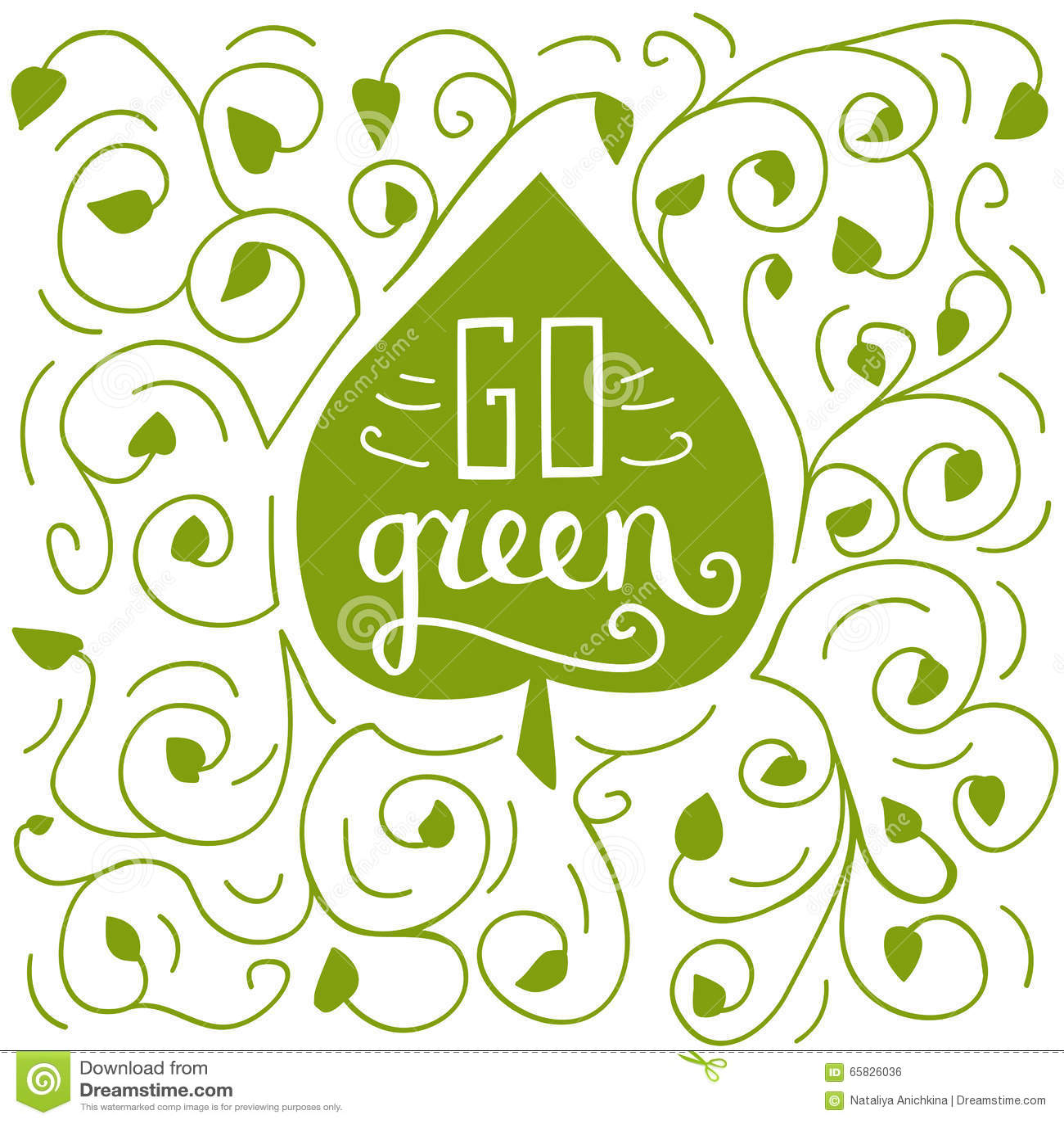 Go Green Doodle Illustration Stock Vector Illustration Of Health