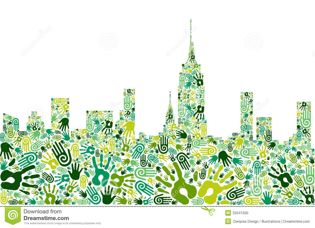 go green hands city skyline background stock vector