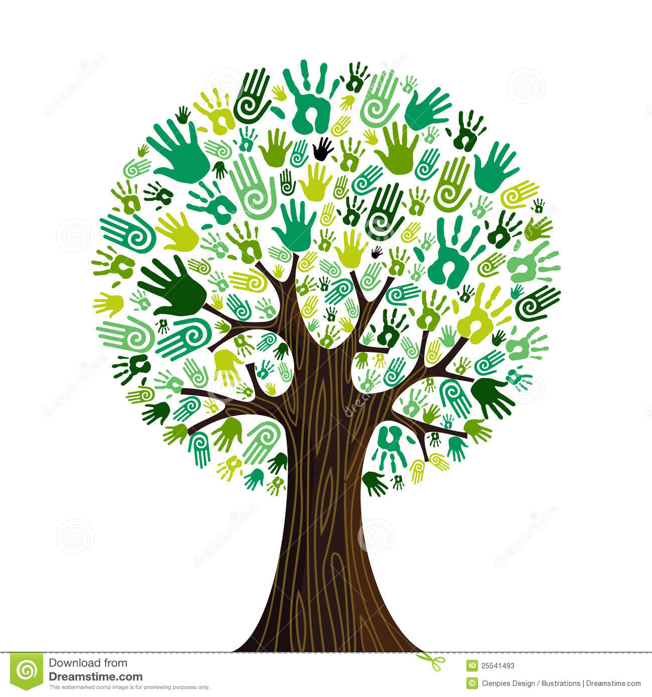 Go green crowd human hands icons in isolated tree composition. Vector ...