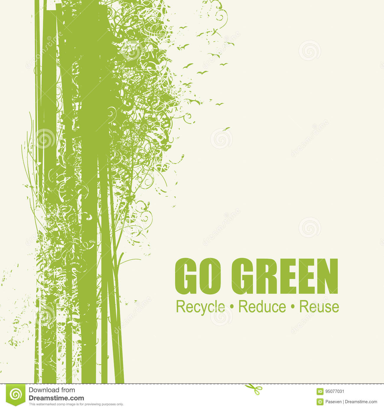 Go Green Recycle Reduce Reuse Eco Poster Concept Stock ...