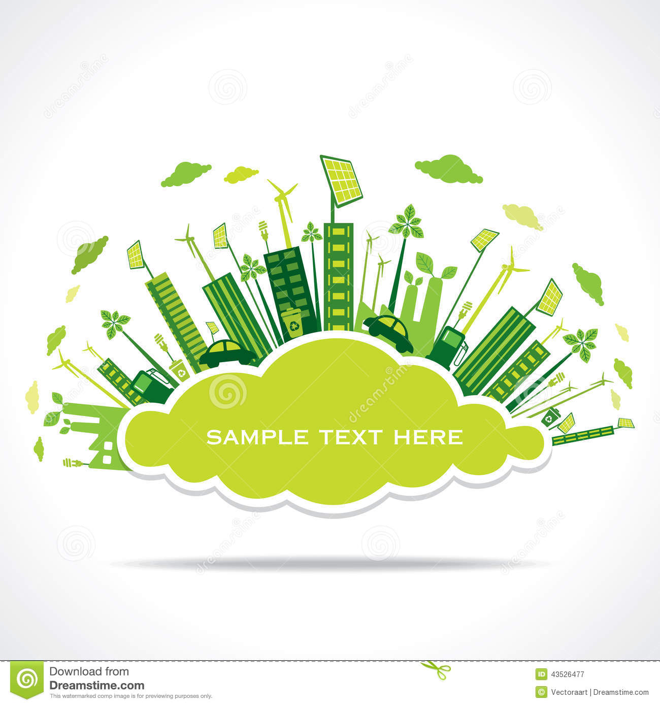 Go Green Or Save Earth With Cloud Shape Concept Stock