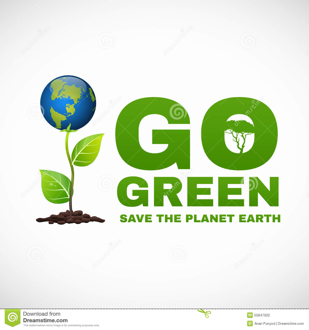 Go Green Save The Planet Earth Is World Tree Stock Vector ...
