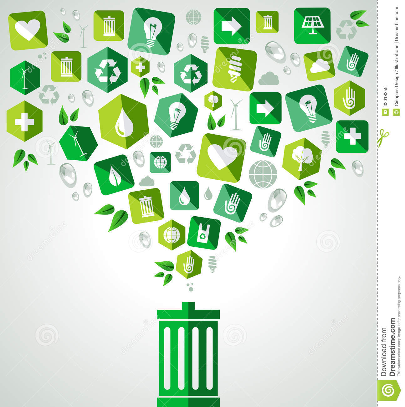 Green icon splash over trash can eco friendly set. Vector file layered ...