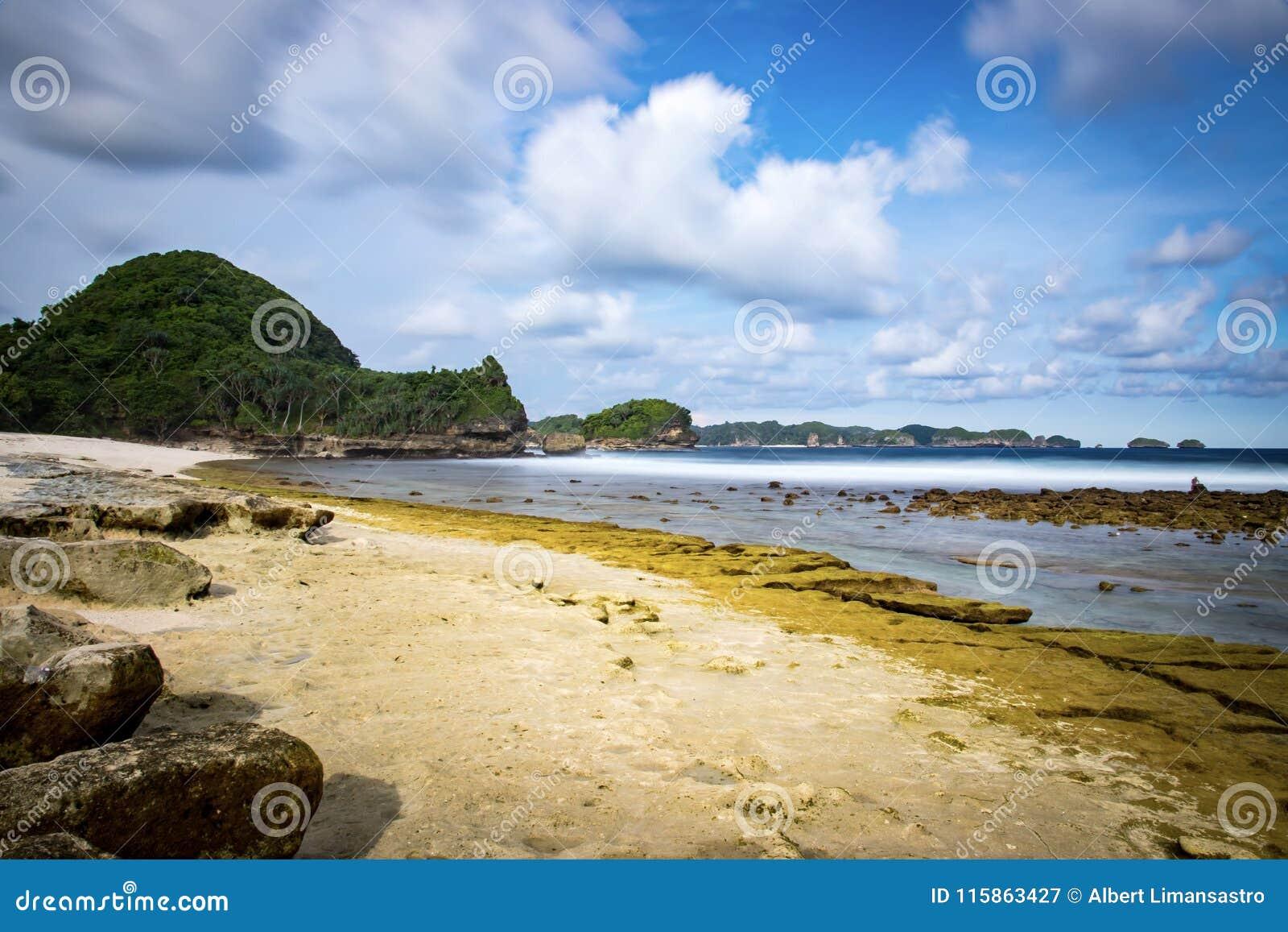 Goa Cina Beach Malang Indonesia Stock Image Image Of Sand Beaches 115863427