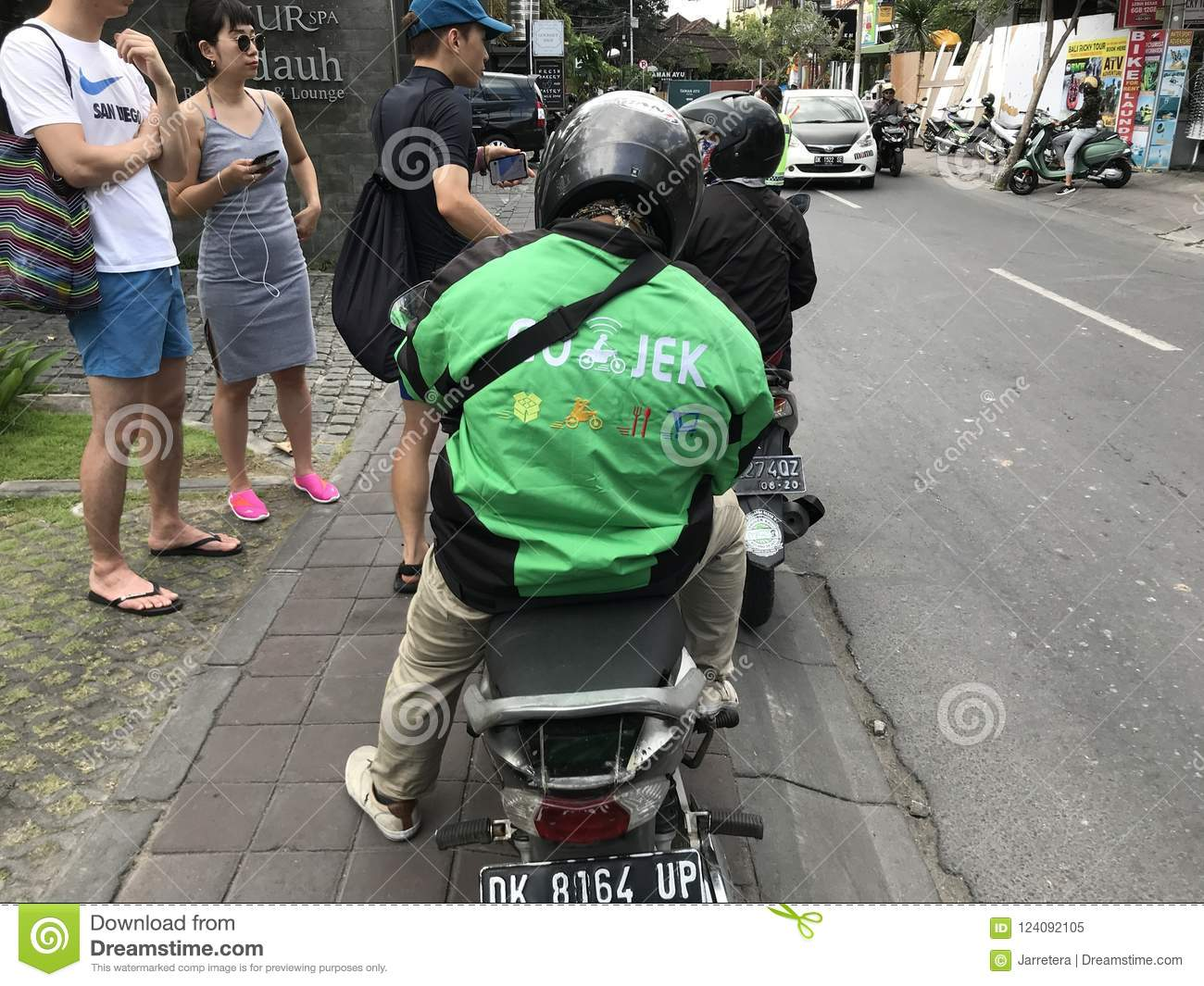 Go-jek motor taxi driver editorial image  Image of helmet
