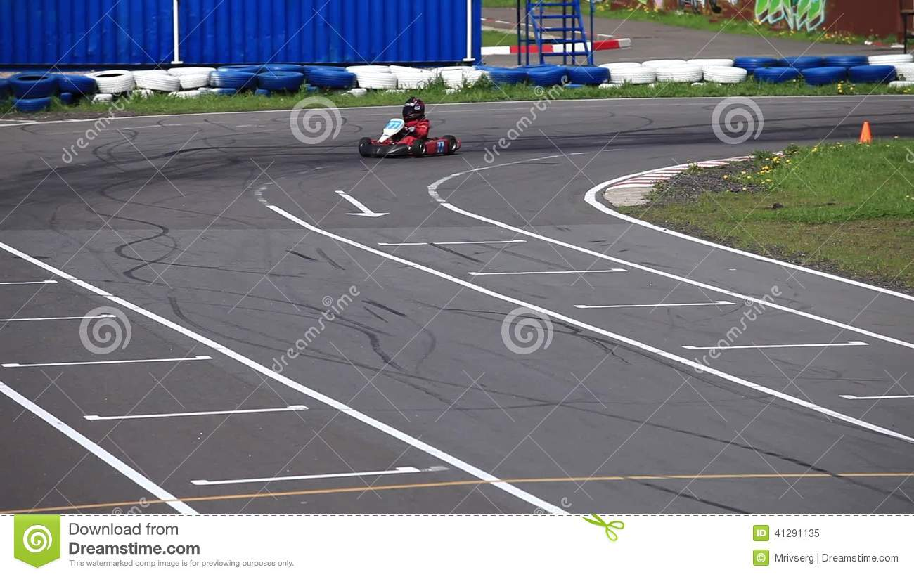 Go Kart In A Curve Front View Stock Video Video Of Winning Curve