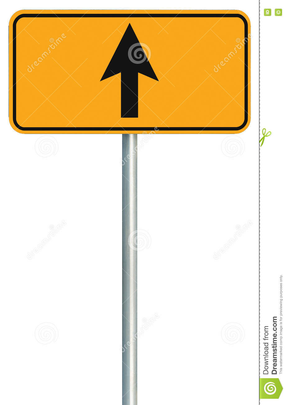 Go straight ahead route road sign, yellow isolated roadside traffic signage, this way only direction pointer, black arrow frame