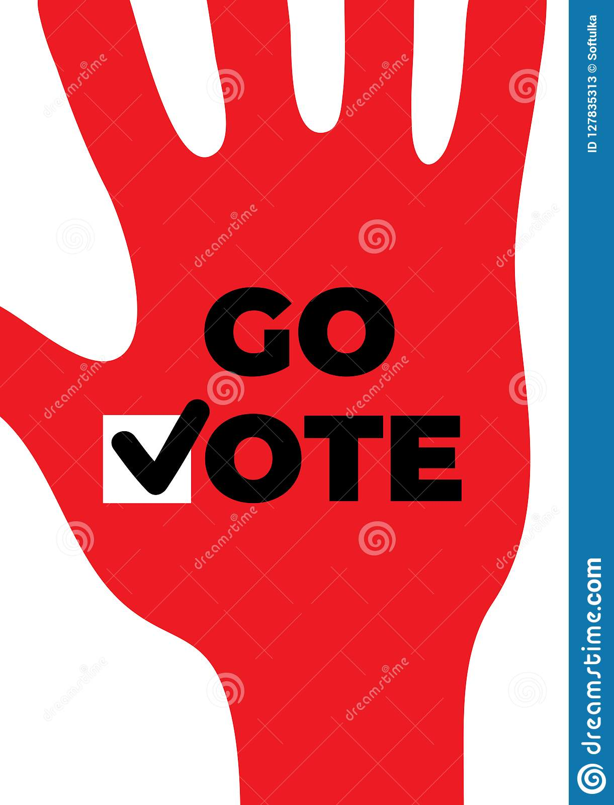 Go Vote Social Motivational Poster Up Hand Stock Vector