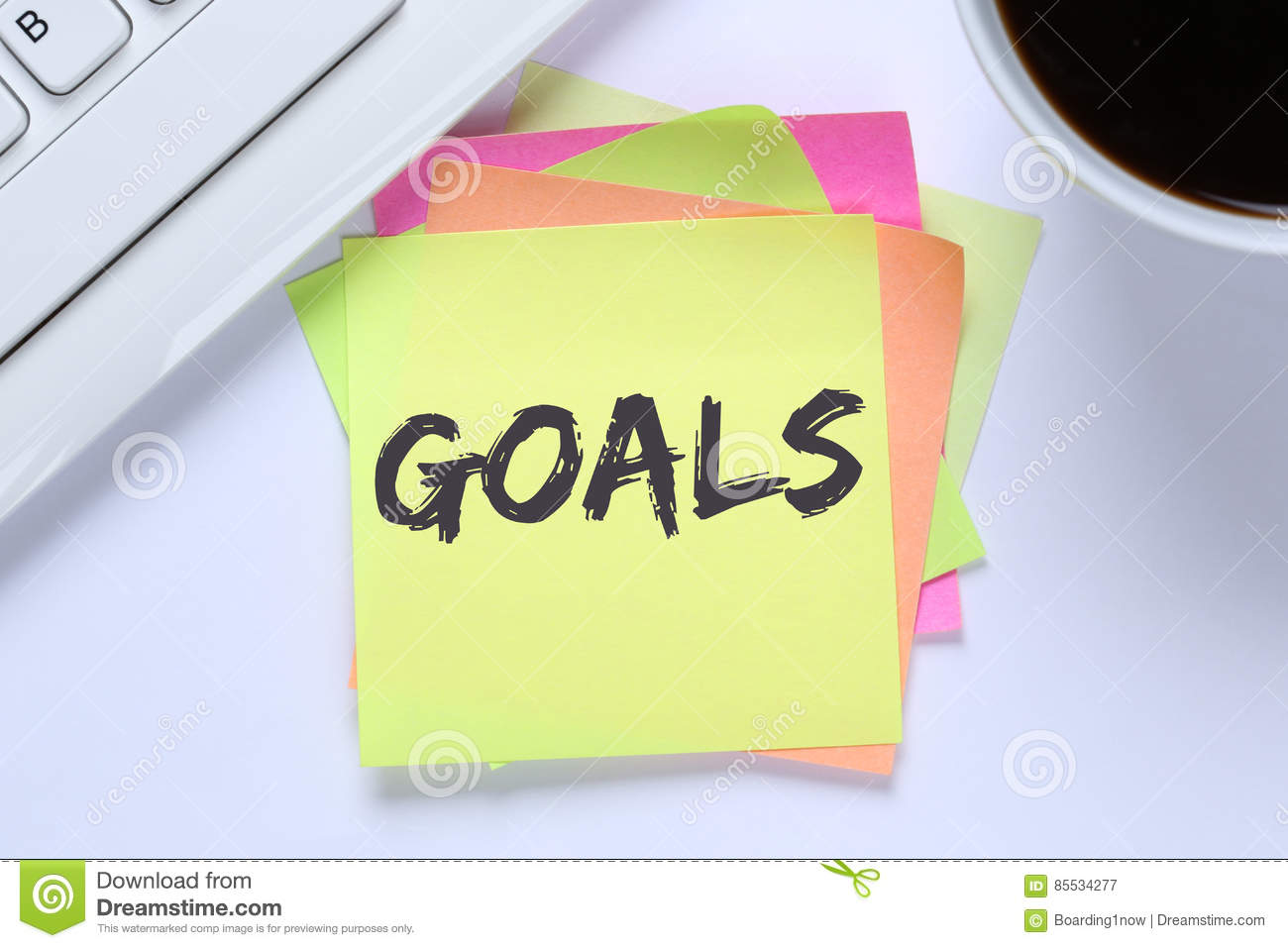 Goal goals to success aspirations and growth desk