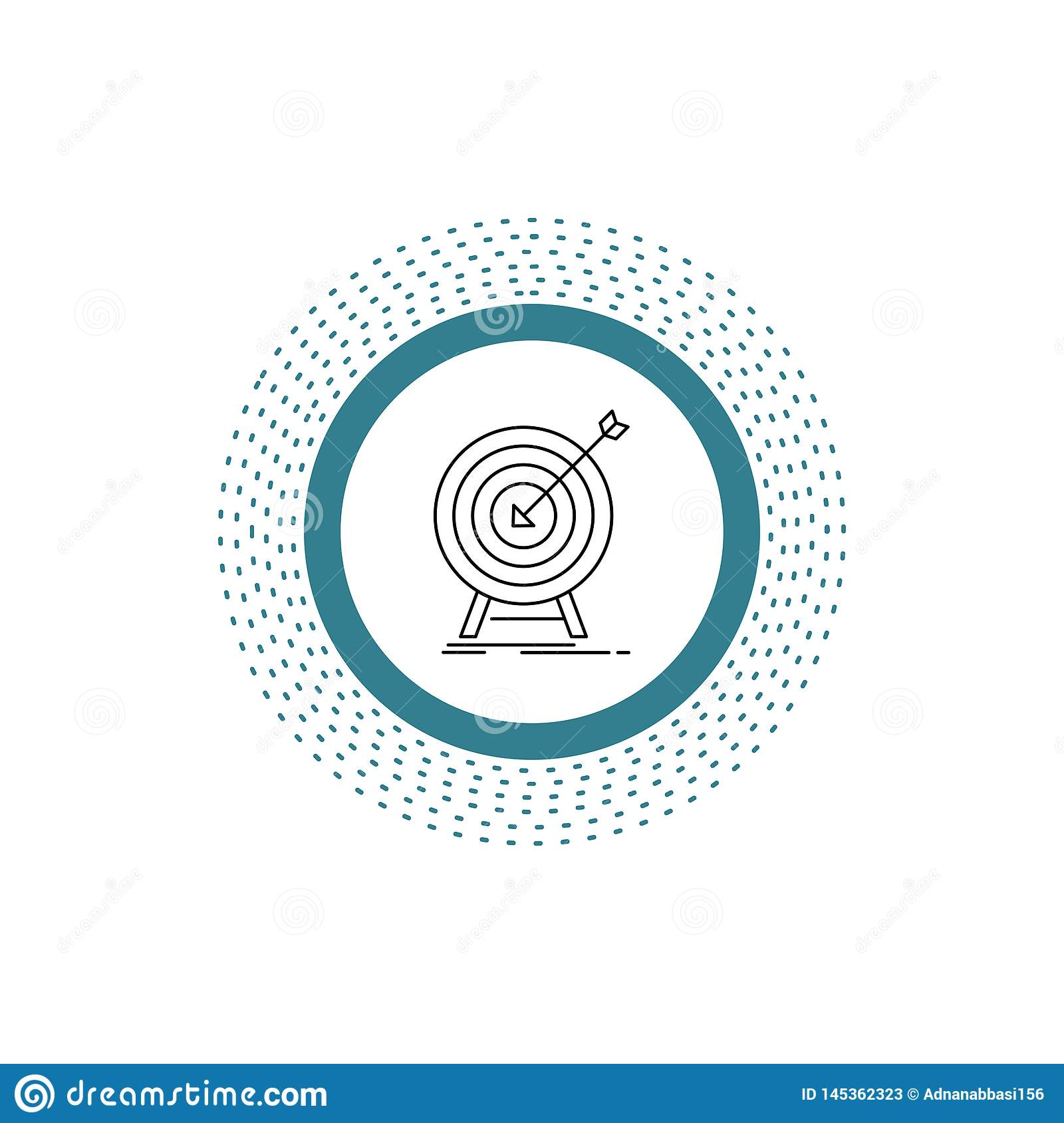 goal, hit, market, success, target Line Icon. Vector isolated illustration