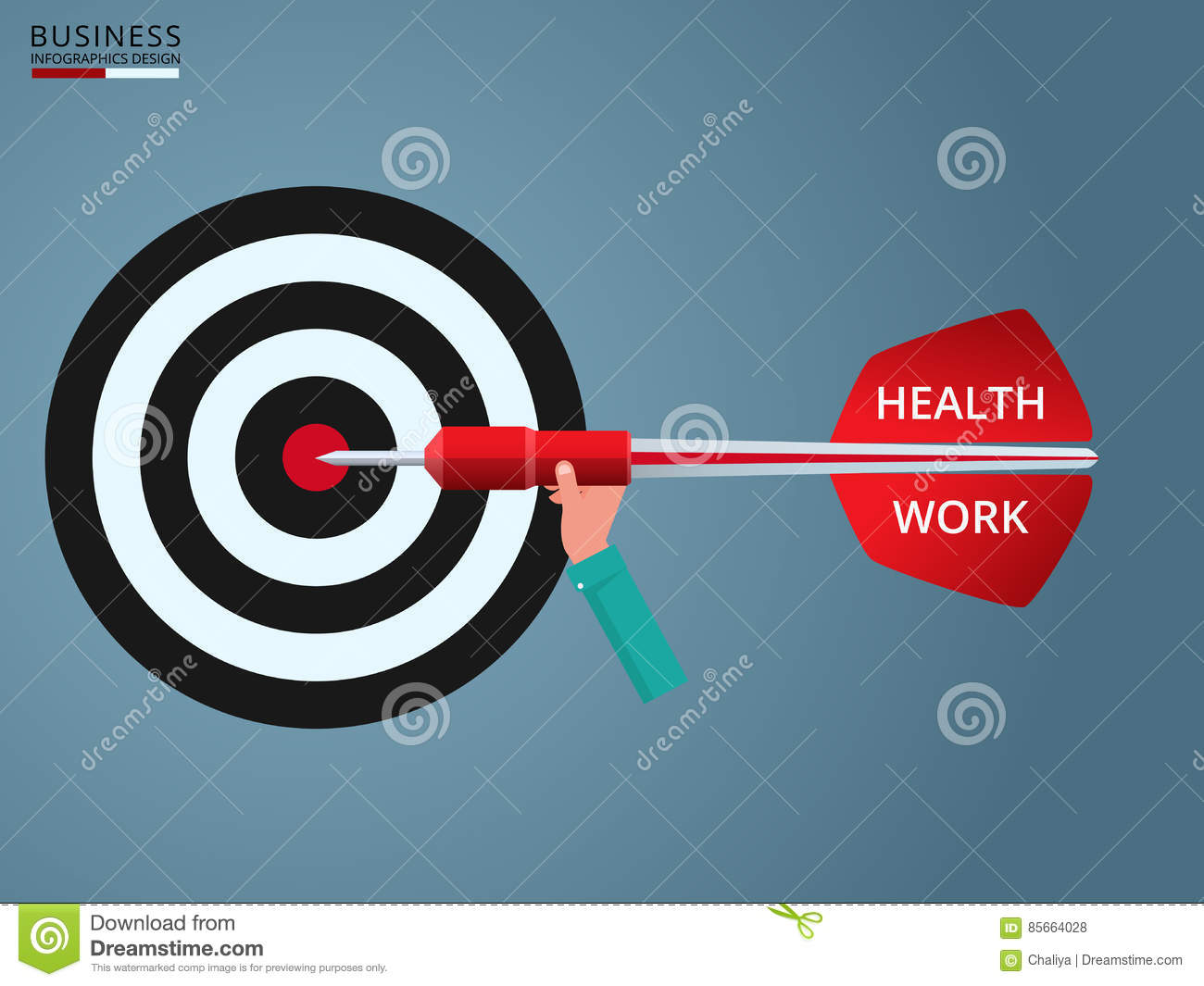 Goal setting. Hand holding dart with text ` Health, Work` to target. Concept of work and life balance.