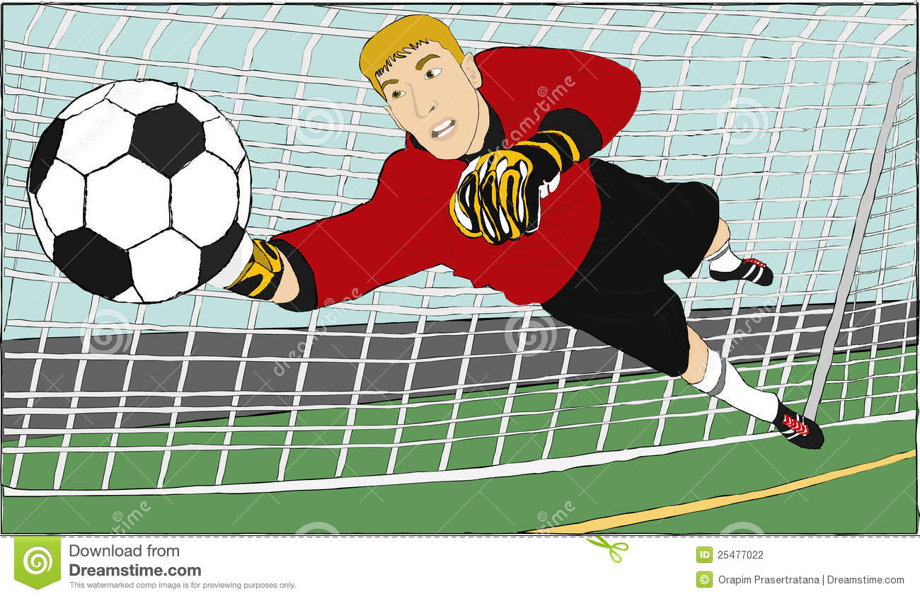 goalkeeper who try to save the ball from the other team.