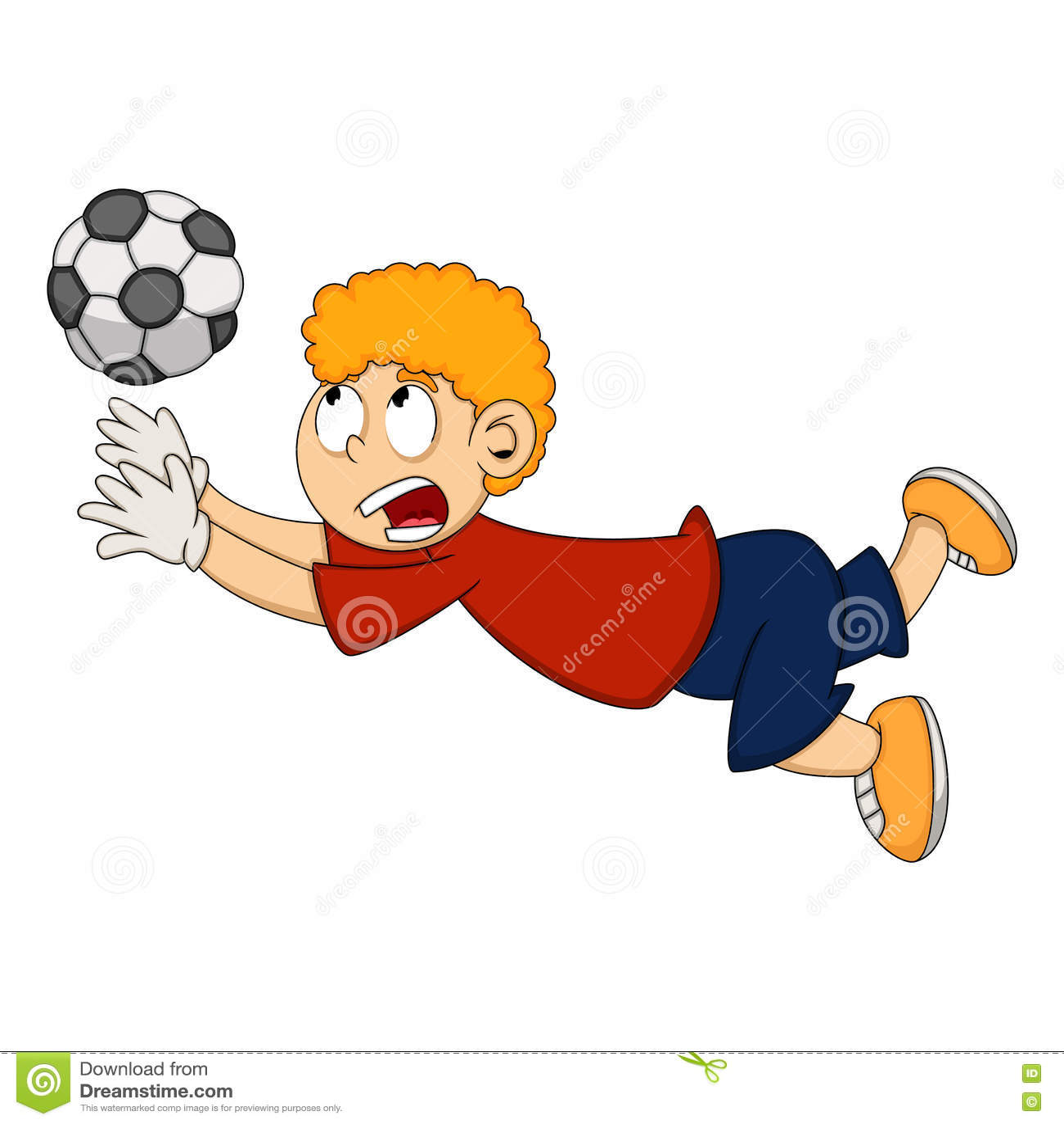 Download Goalkeeper Catch The Ball Cartoon Stock Vector Illustration Of Athlete Caucasian