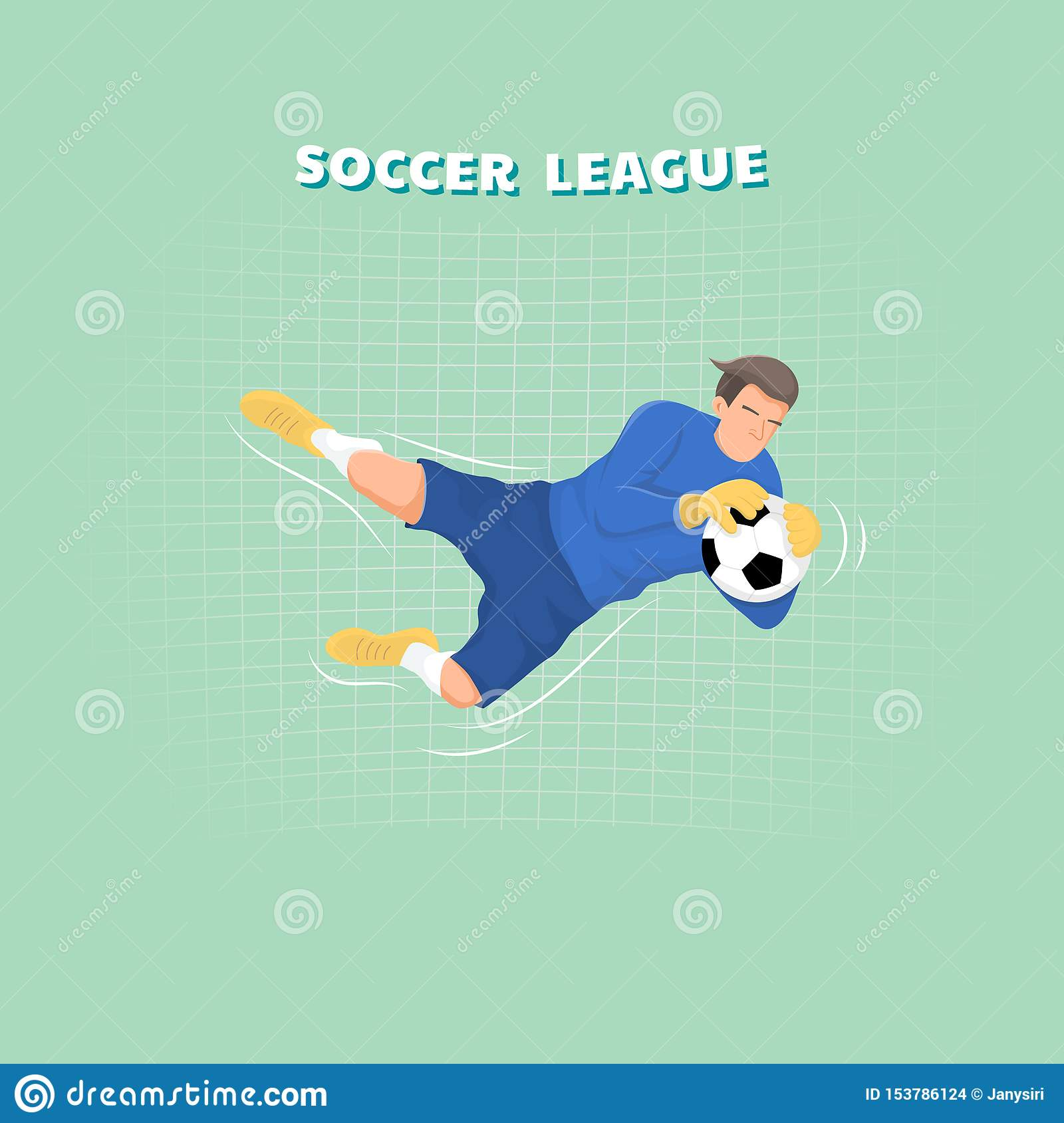 Goalkeeper catching the ball, soccer player. Flat sport character design.
