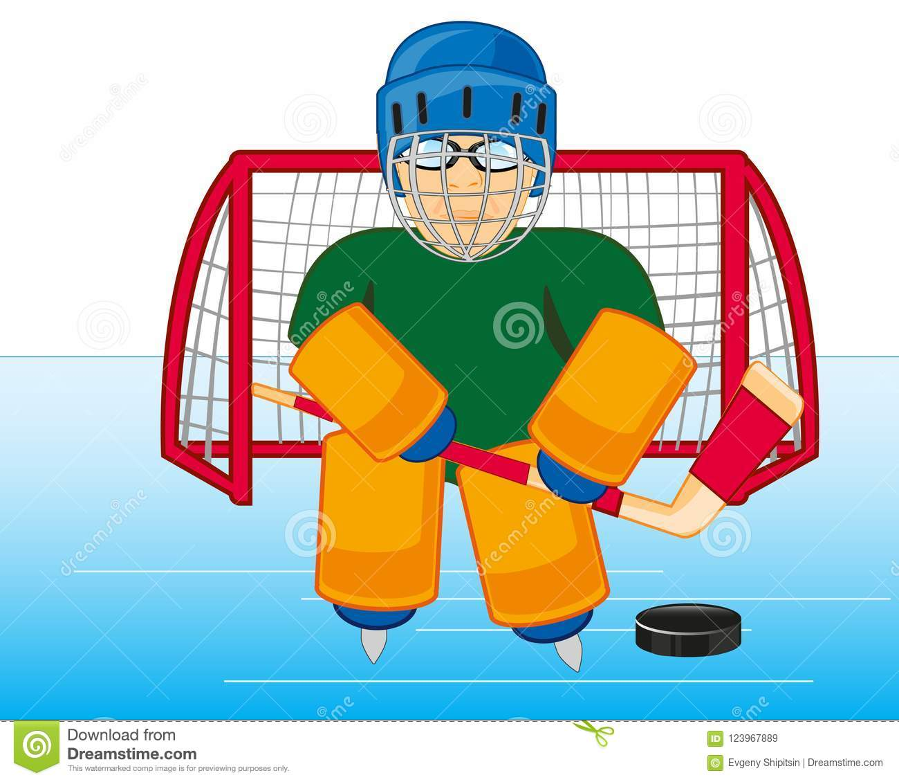 Hockey Goalkeeper Cost Stand On Winch Vector Illustration Stock