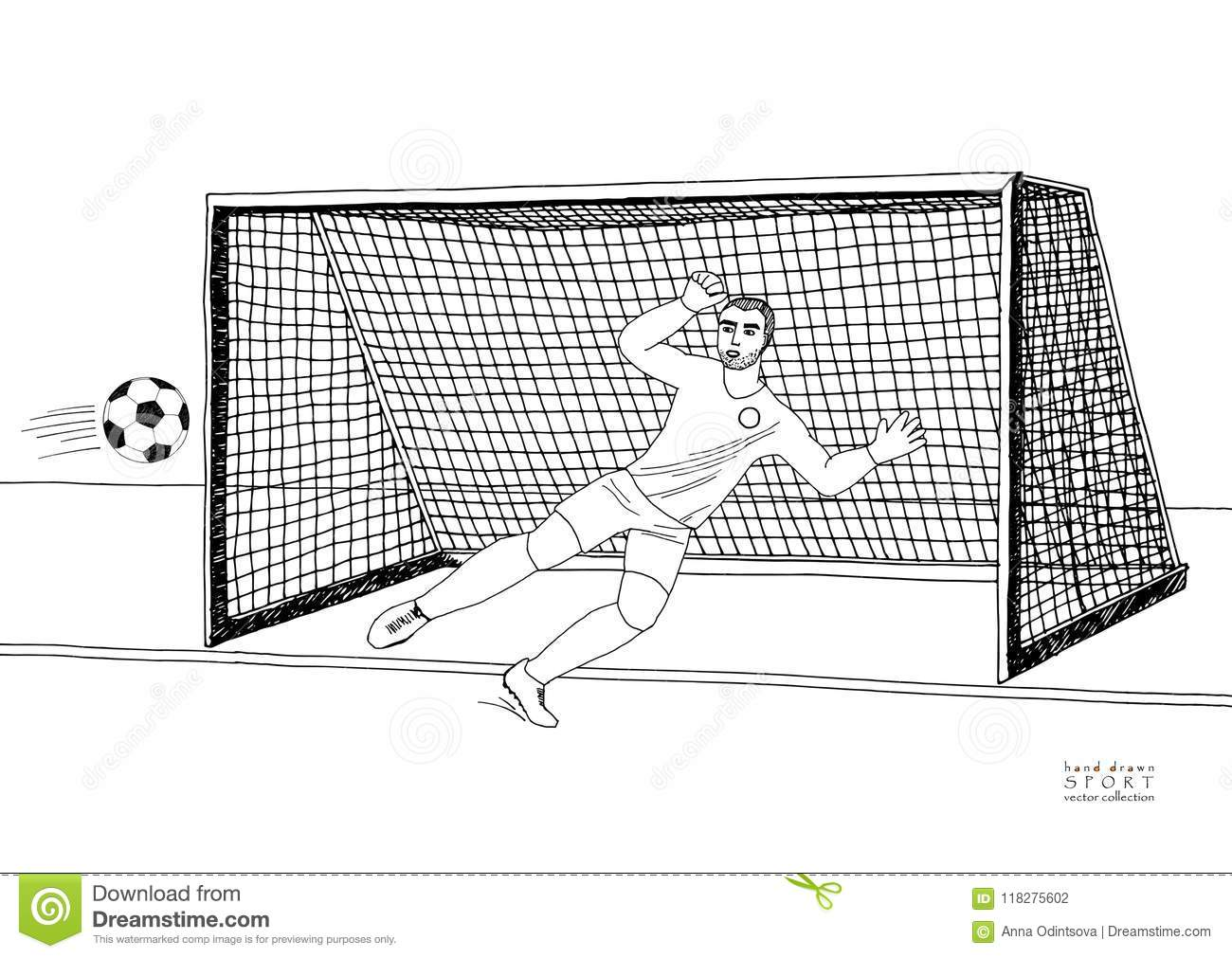 6000c61c159c3 Goalkeeper jumping to catch the soccer ball. Football game. Young athletic  champion. Hand drawn vector flat illustration. Black line on white  background.