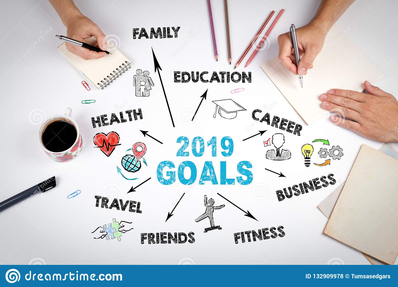 2019 Goals Concept  Chart With Keywords And Icons Stock