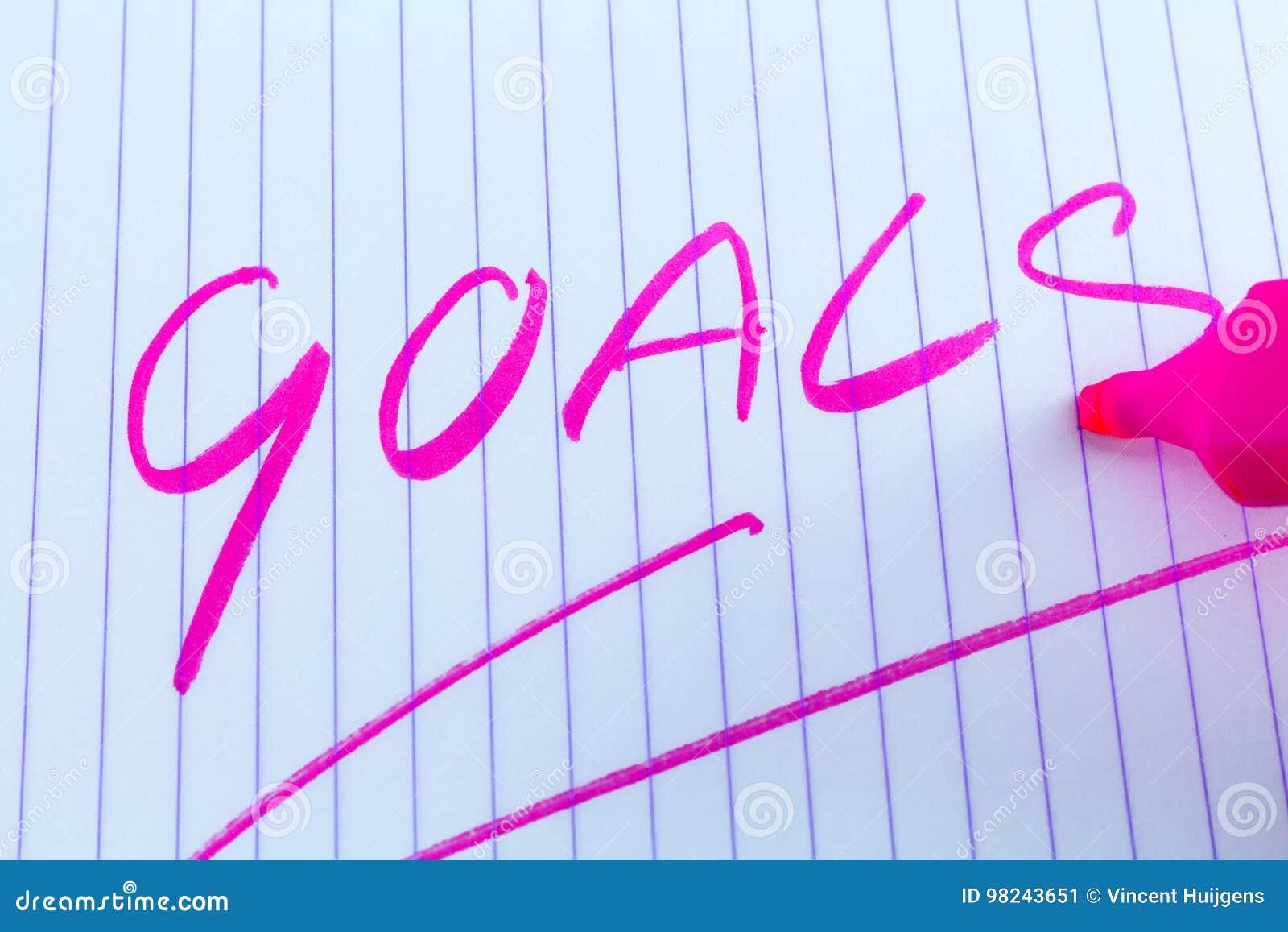 Goals keyword written with pink marker