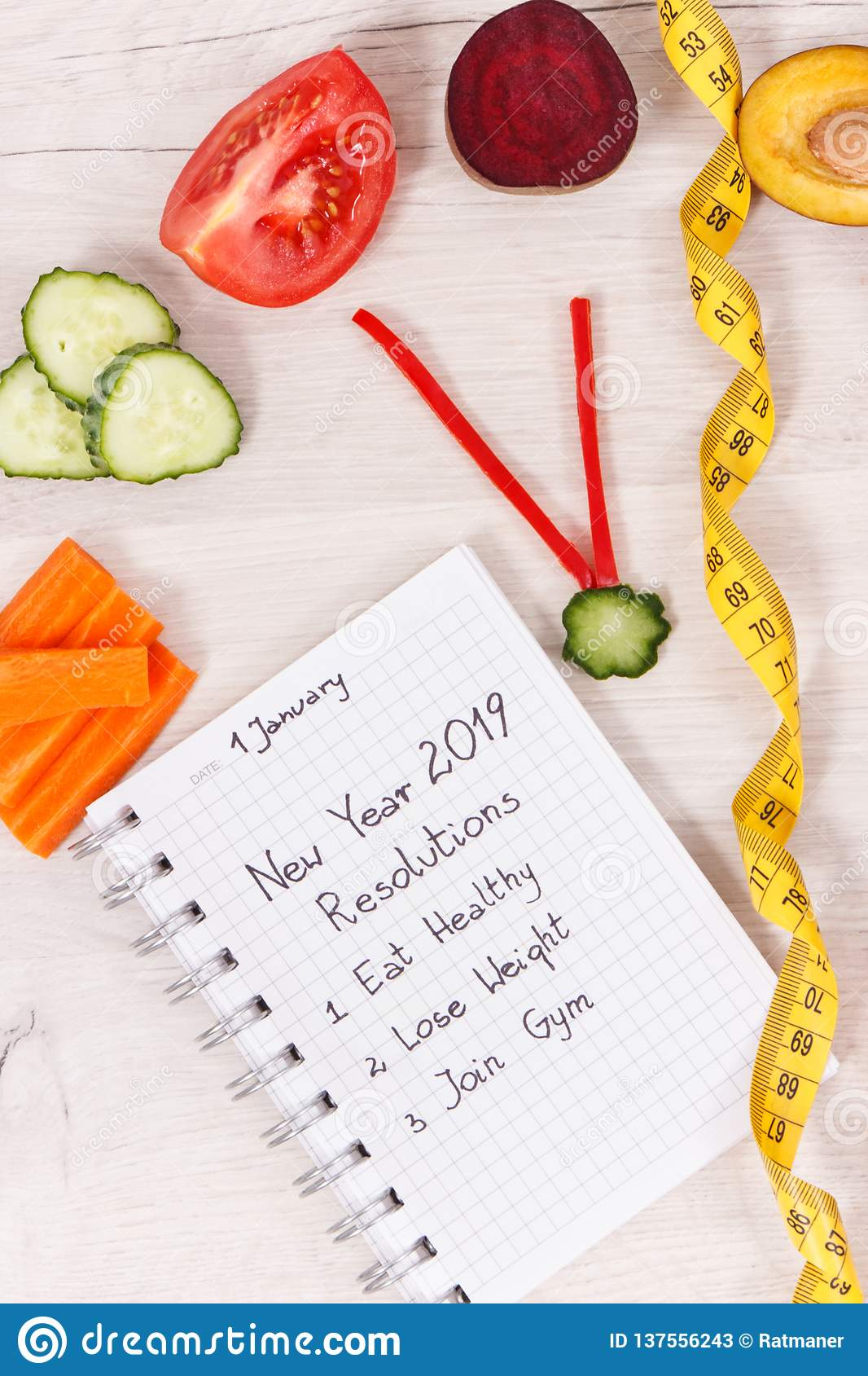 Goals For New Year 2019 In Notepad And Fruits With Vegetables In