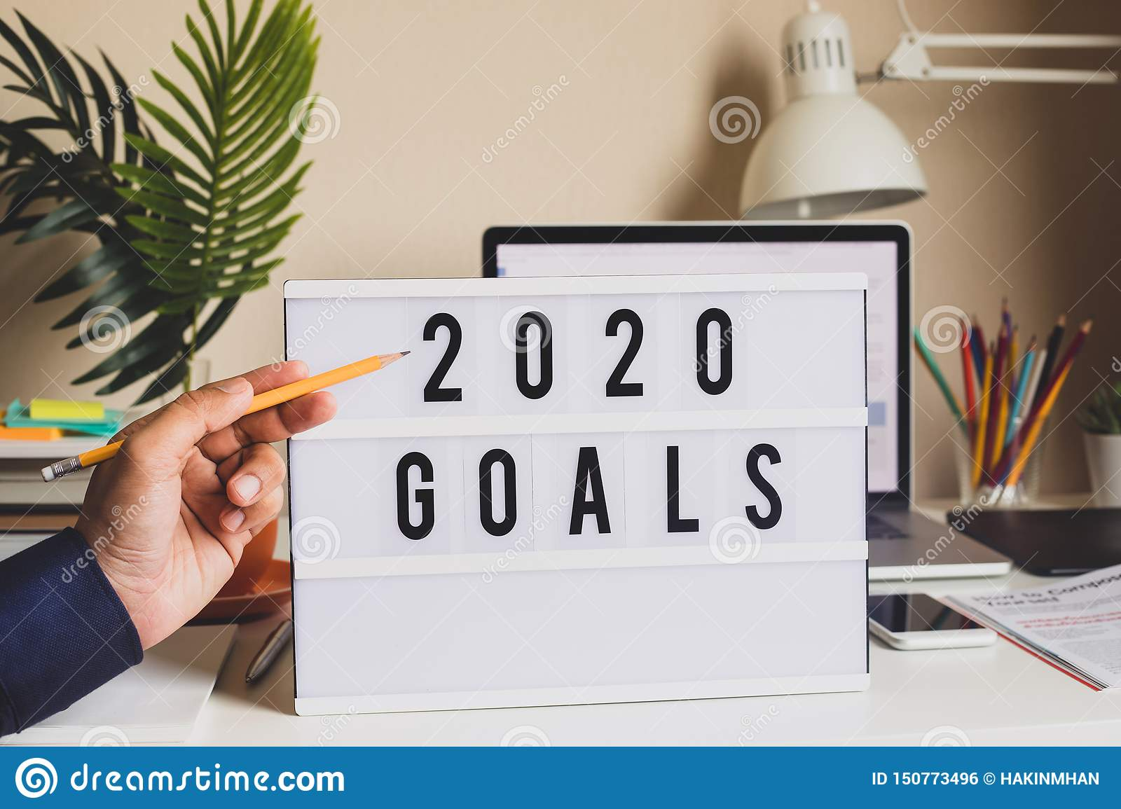 Business Use Of Home 2020.2020 Goals Text On Light Box On Desk Table In Home Office