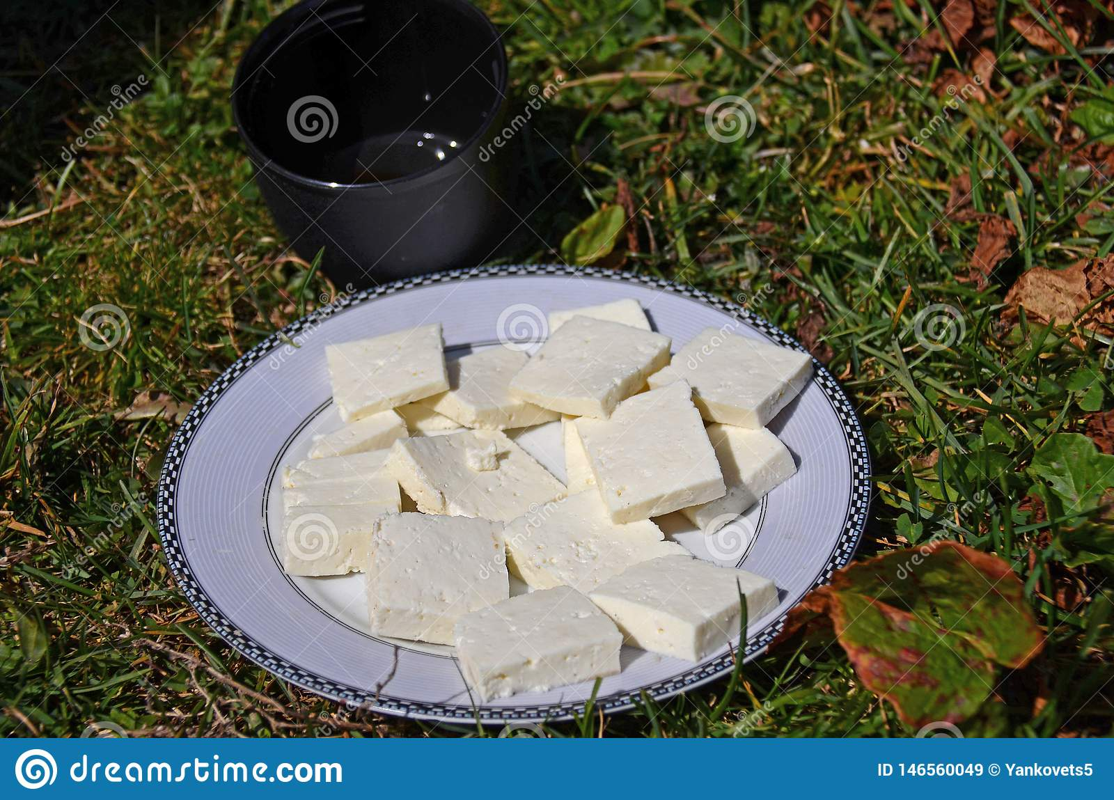 Goat&#x27 appena preparato; il formaggio di s è fatto a mano su un piatto bianco rotondo accanto ad una tazza nera di tè che sta