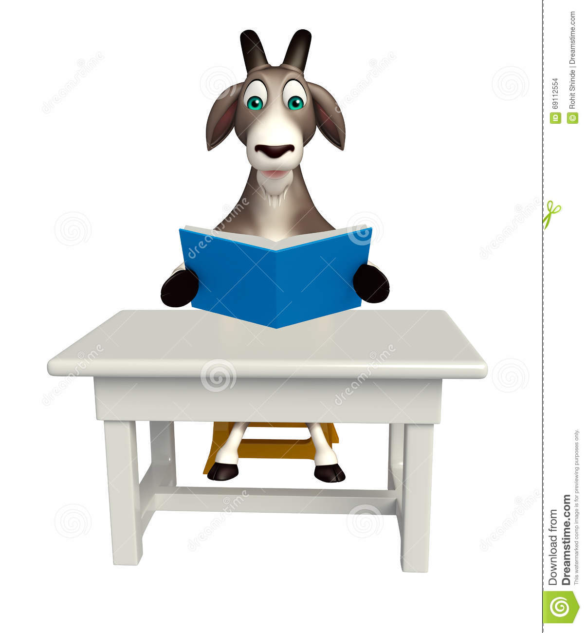 Peachy Goat Cartoon Character With Table And Chair Stock Download Free Architecture Designs Scobabritishbridgeorg