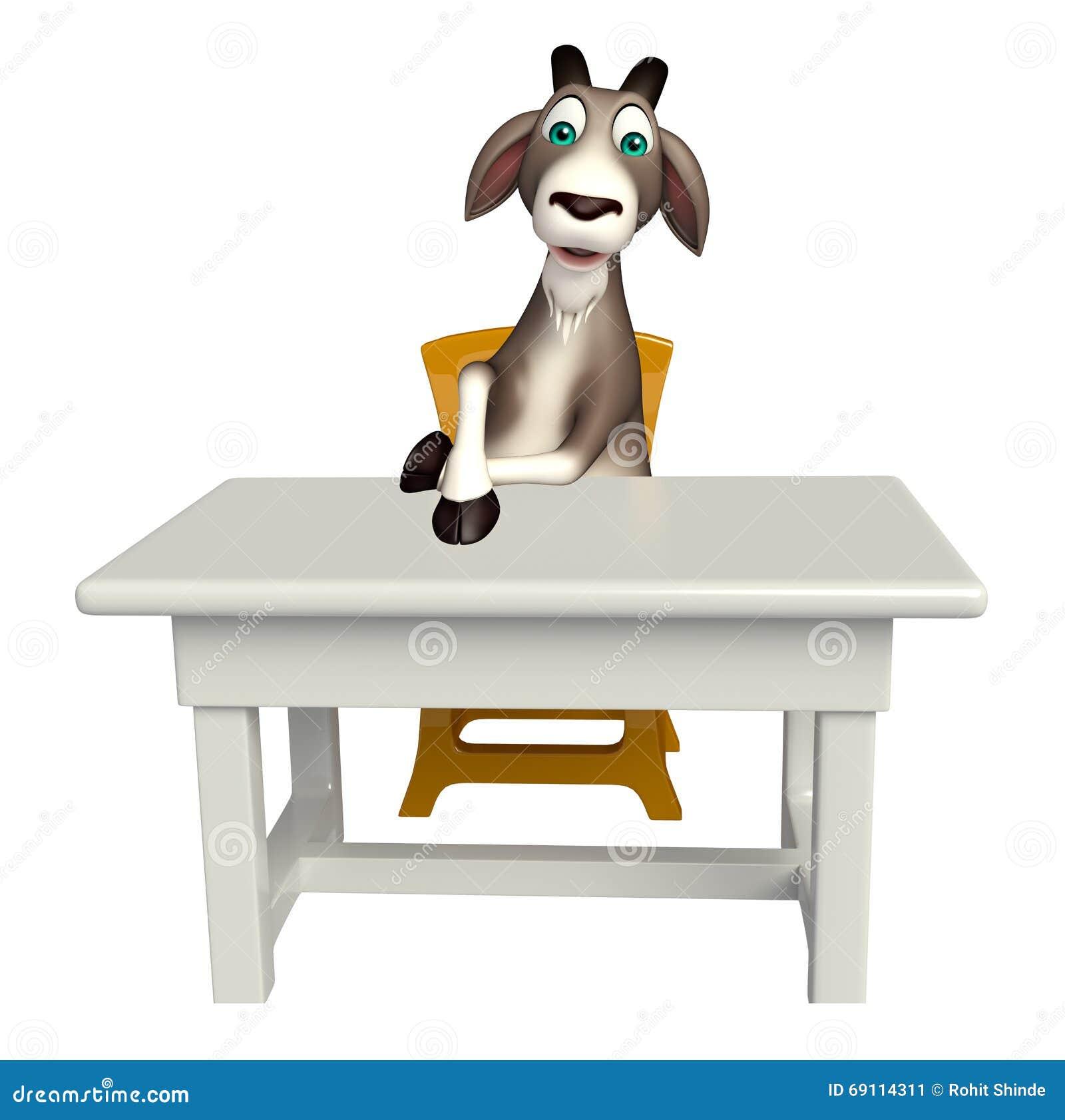 Swell Goat Cartoon Character With Table And Chair Stock Creativecarmelina Interior Chair Design Creativecarmelinacom