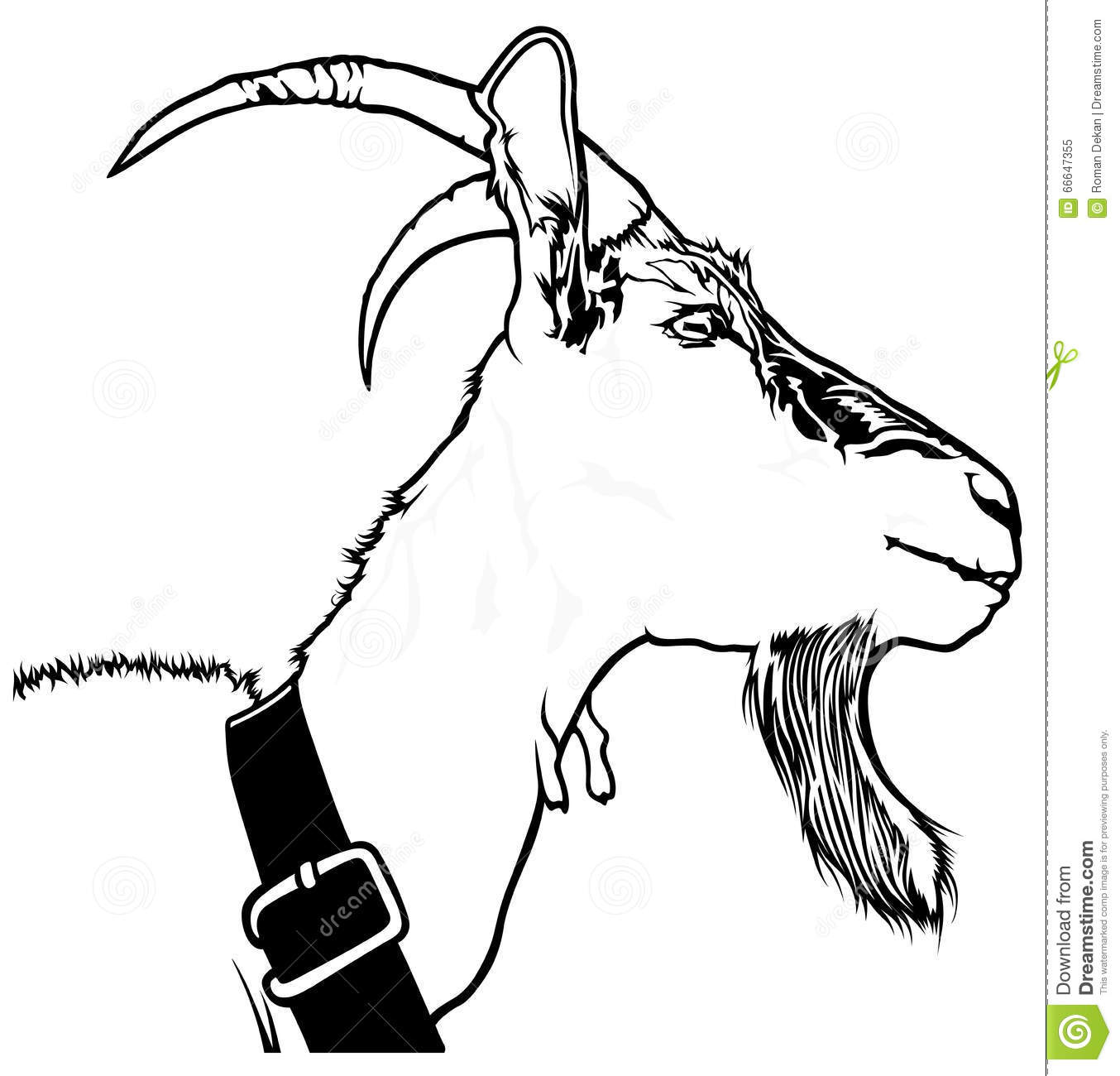 Goat Head stock vector. Illustration of goatee, head ... Goat Face Side Drawing