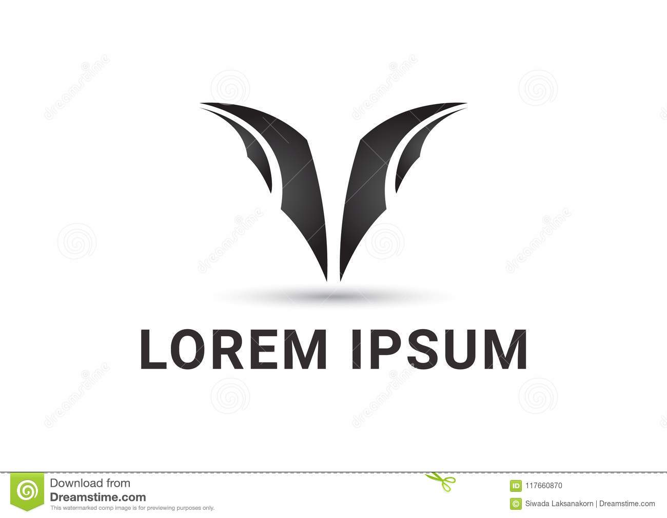 Goat Horn Abstract Logo Design Template Stock Vector