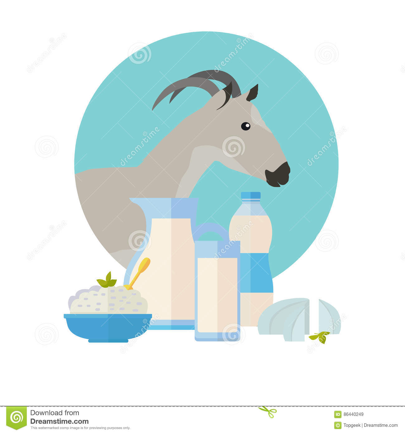 Goat Icon With Milk Products  Dairy Set Stock Vector