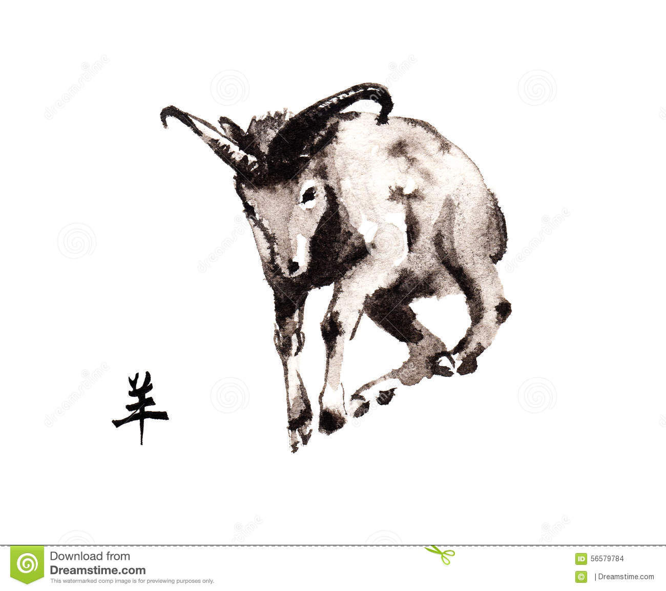 goat oriental ink painting sumi e stock illustration illustration
