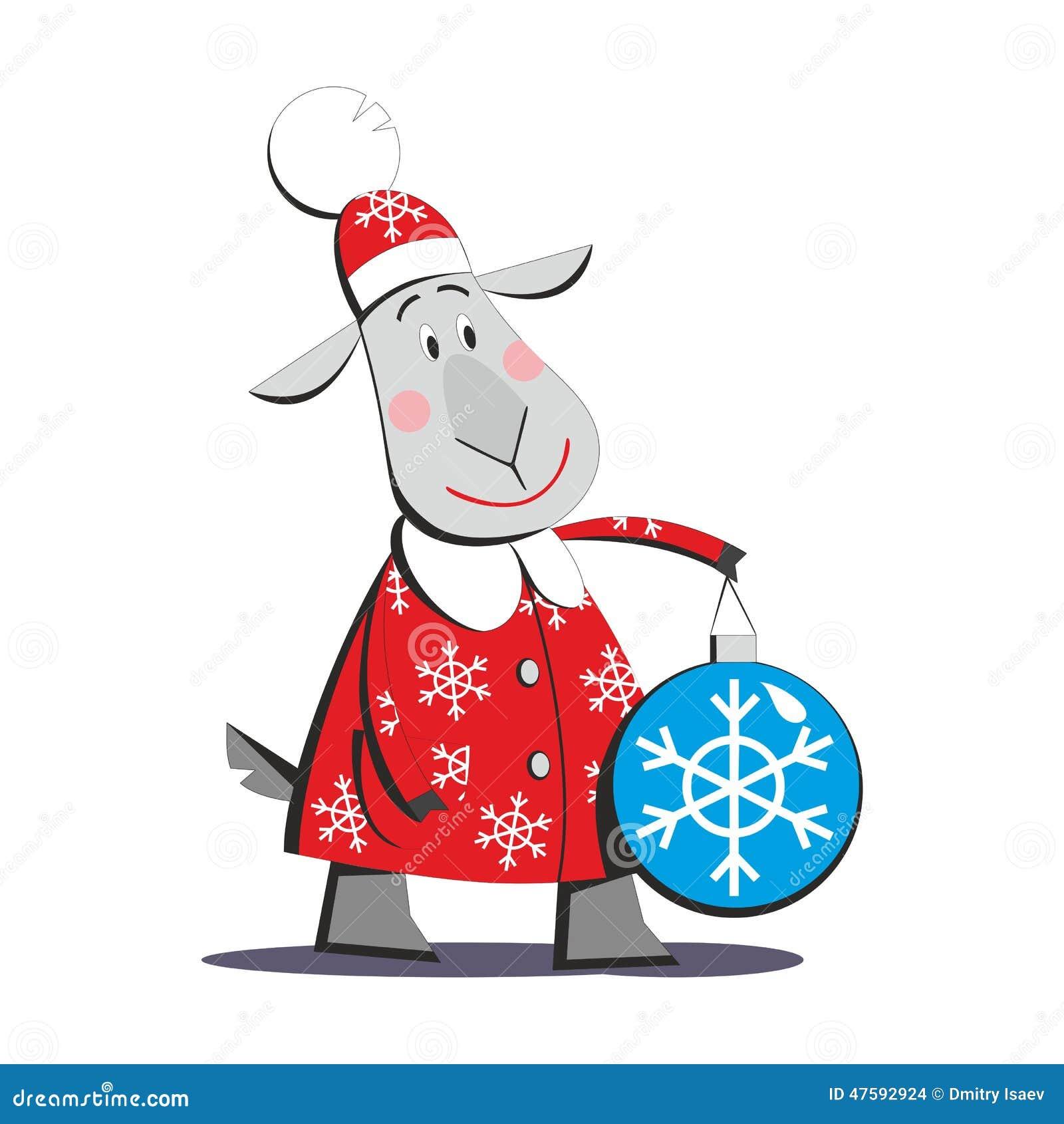 Goat in santa claus costume stock vector image