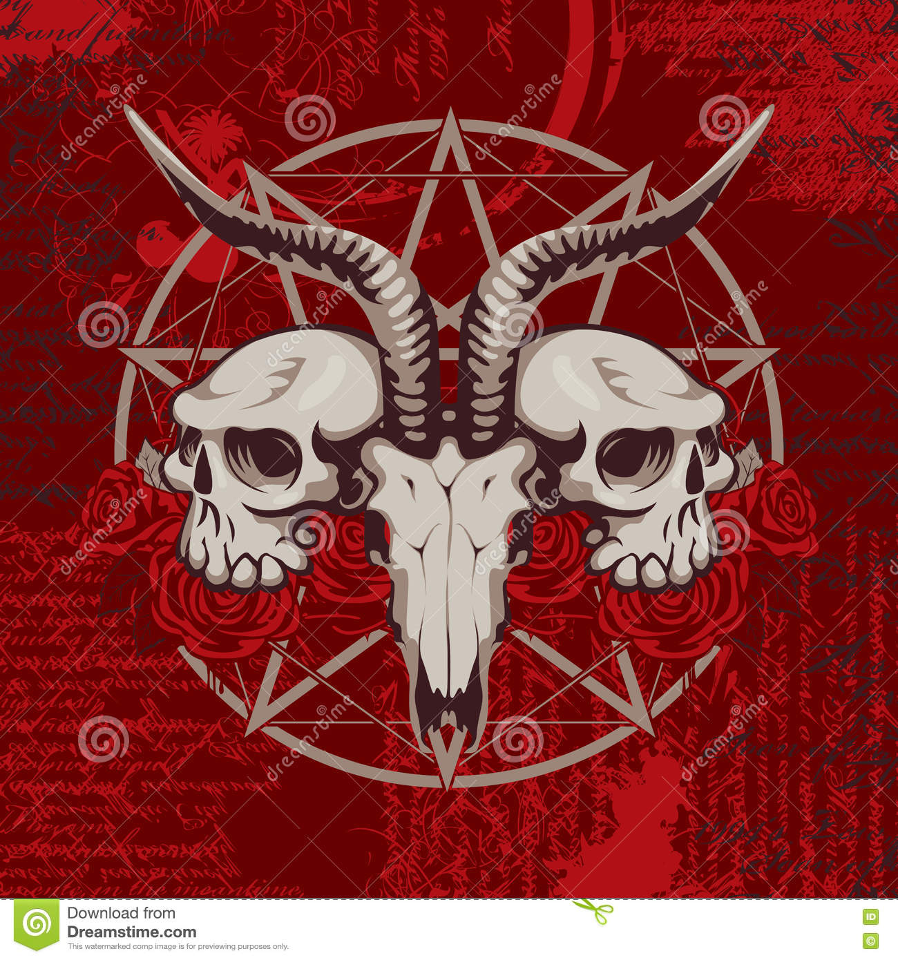 Goat Skull On The Background With Occult Symbols Stock Illustration