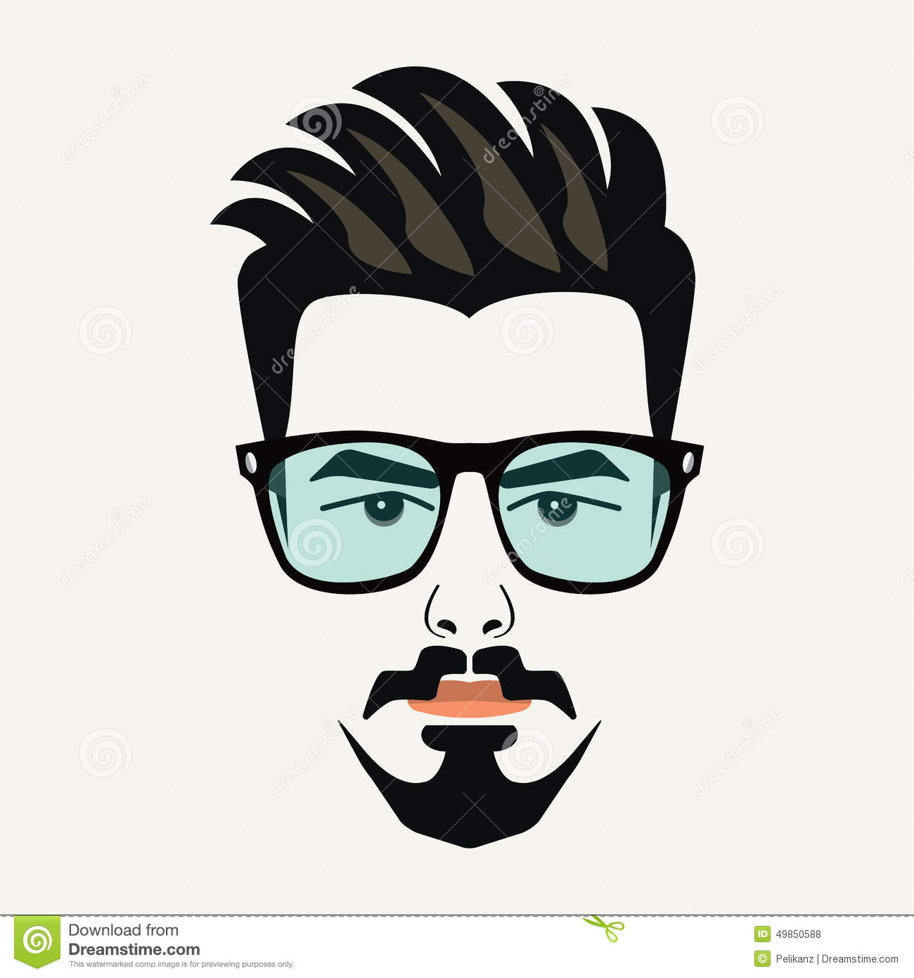 Goatee Beard Young Hipster Male With Blue Lenses Glasses