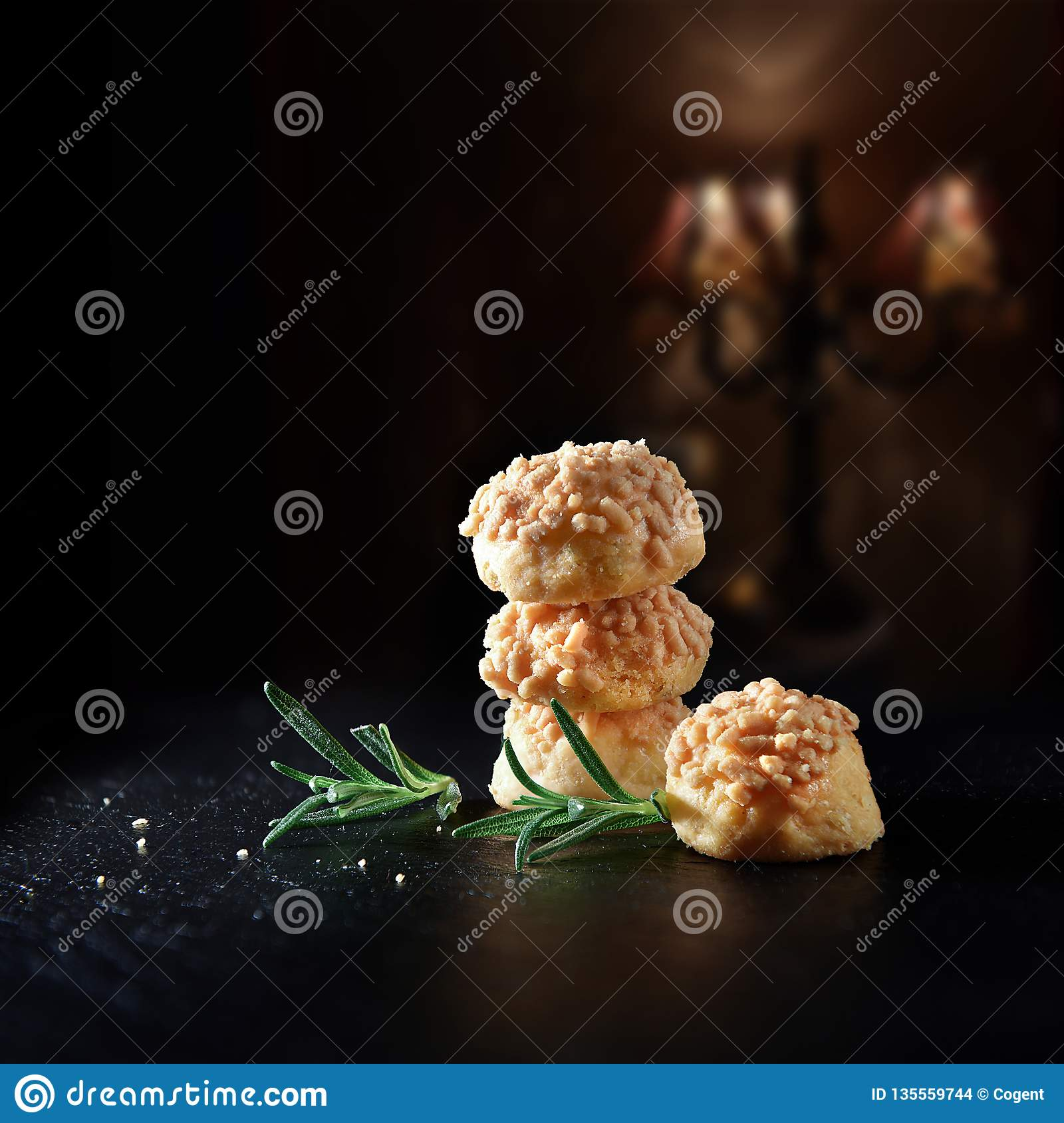 Goats Cheese And Rosemary Nibbles Stock Photo - Image of delicious