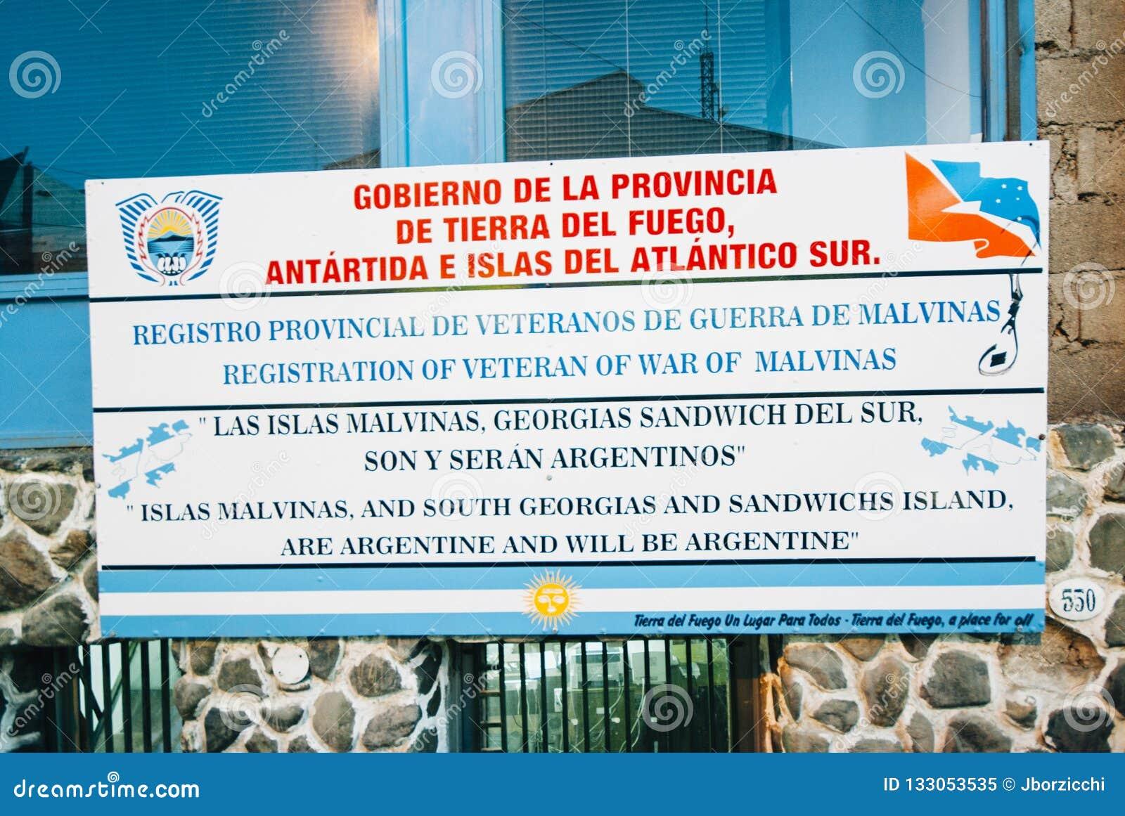 Gobierno de la Provincia de Tierra del Fuego Sign, Ushuaia, Arge