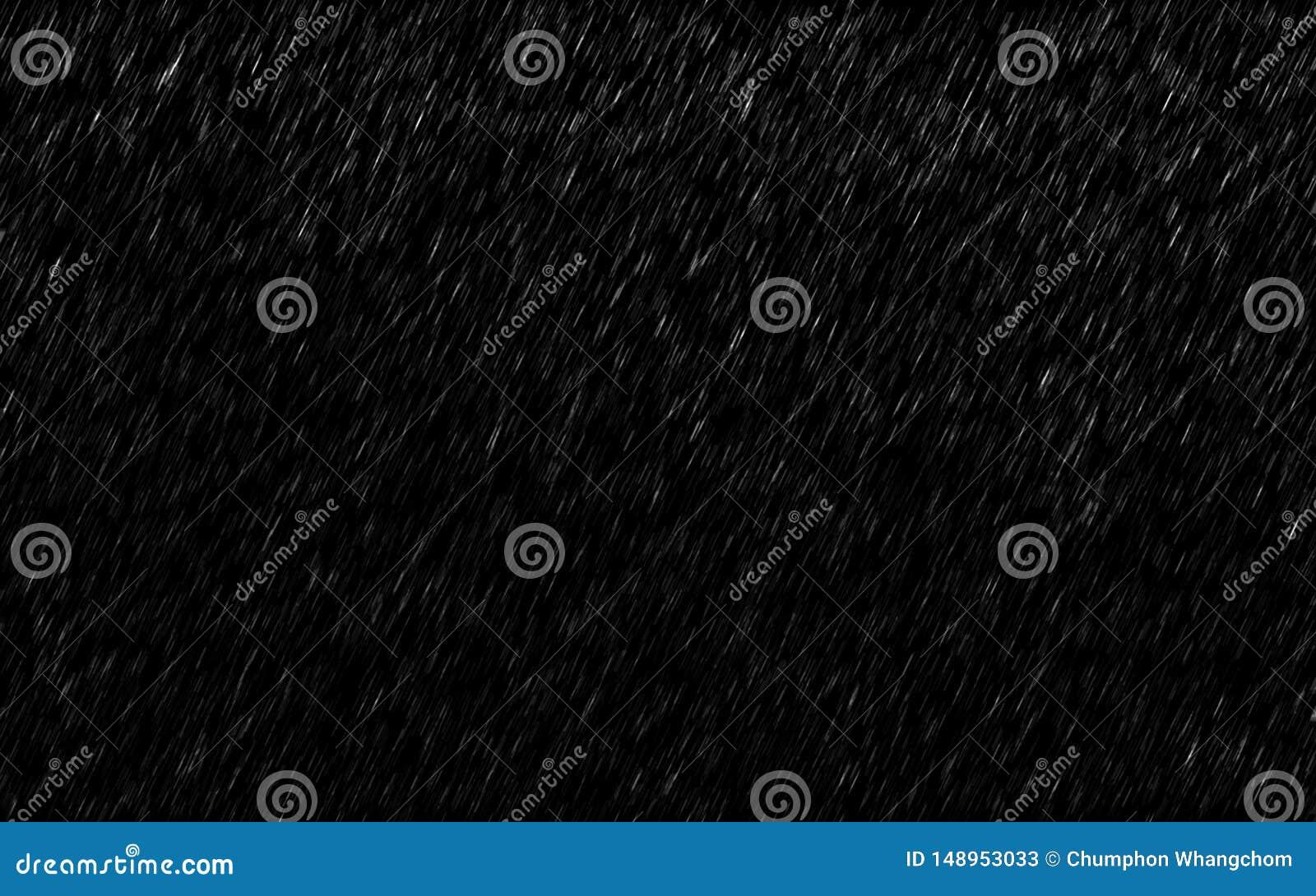 Gocce di pioggia di caduta isolate su fondo scuro Tempesta del tempo e della pioggia persistente nella pioggia della stagione