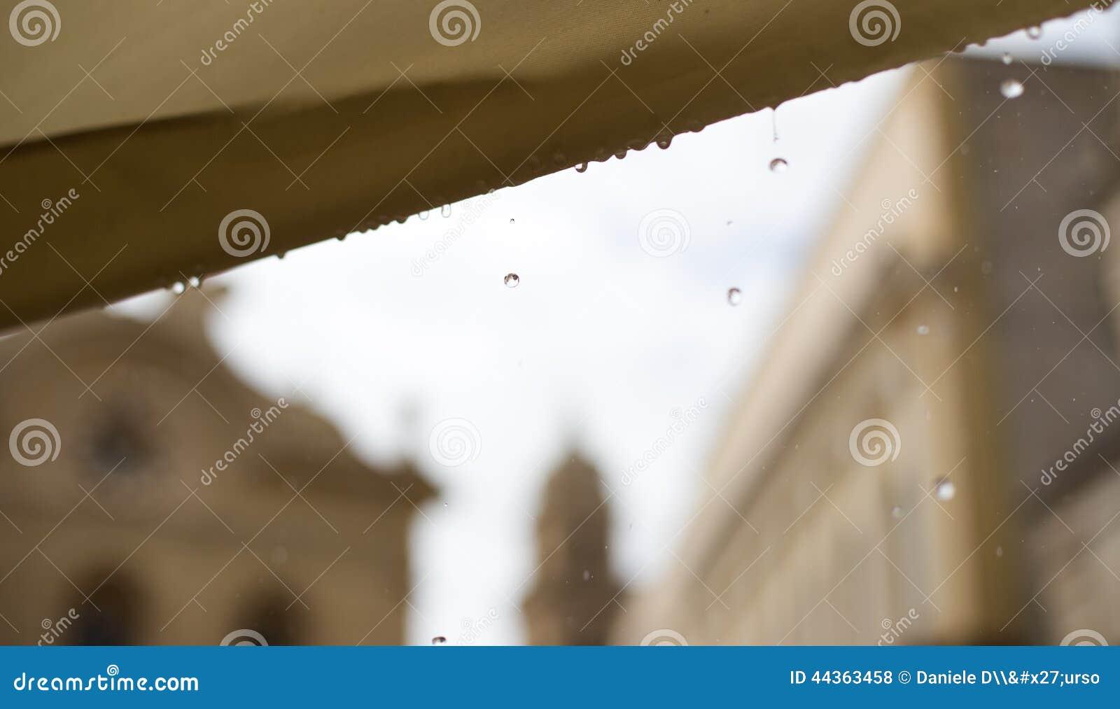 Gocce di pioggia su fondo in Italia