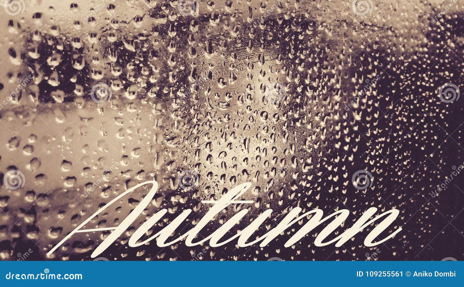 Gocce di pioggia in vetro con testo