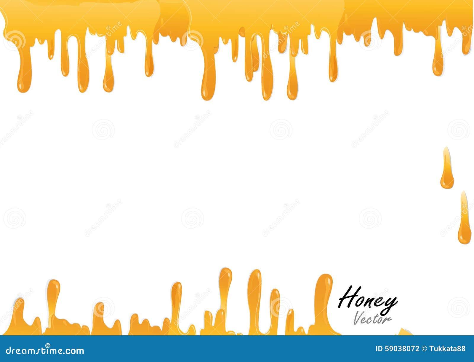 Goccia del miele su fondo bianco, illustrazione di vettore