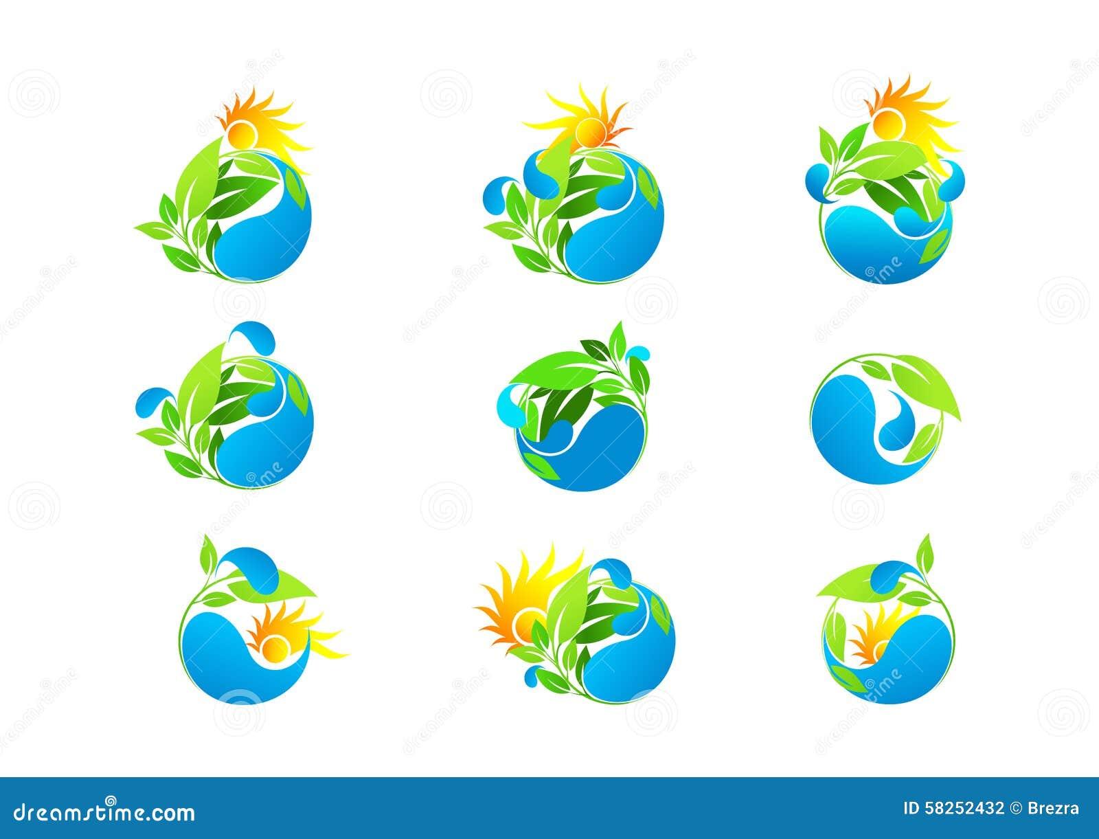 Goccia di acqua, logo, foglia, ecologico, fresco, sana, crescita, insieme dell icona di progettazione di vettore di ecologia di c