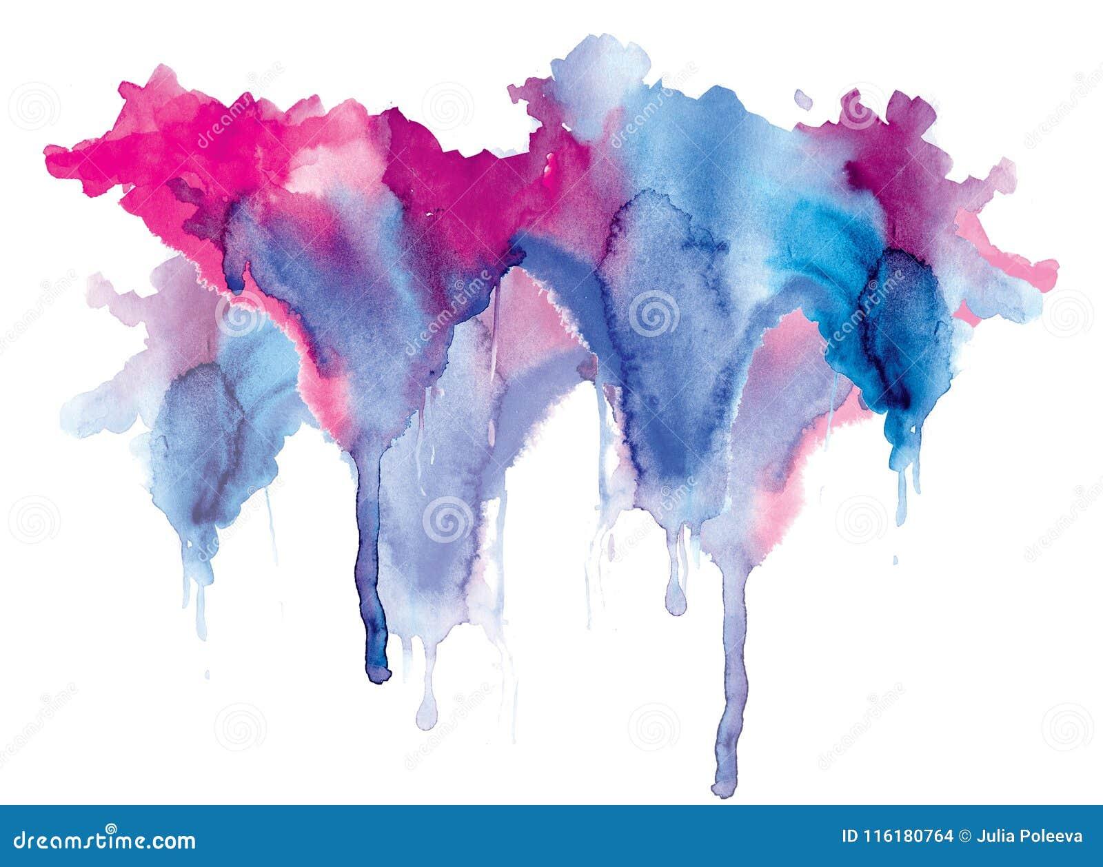 Gocciolamenti blu-rossi della macchia dell acquerello luminoso Illustrazione astratta su un fondo bianco Insegna per testo, eleme