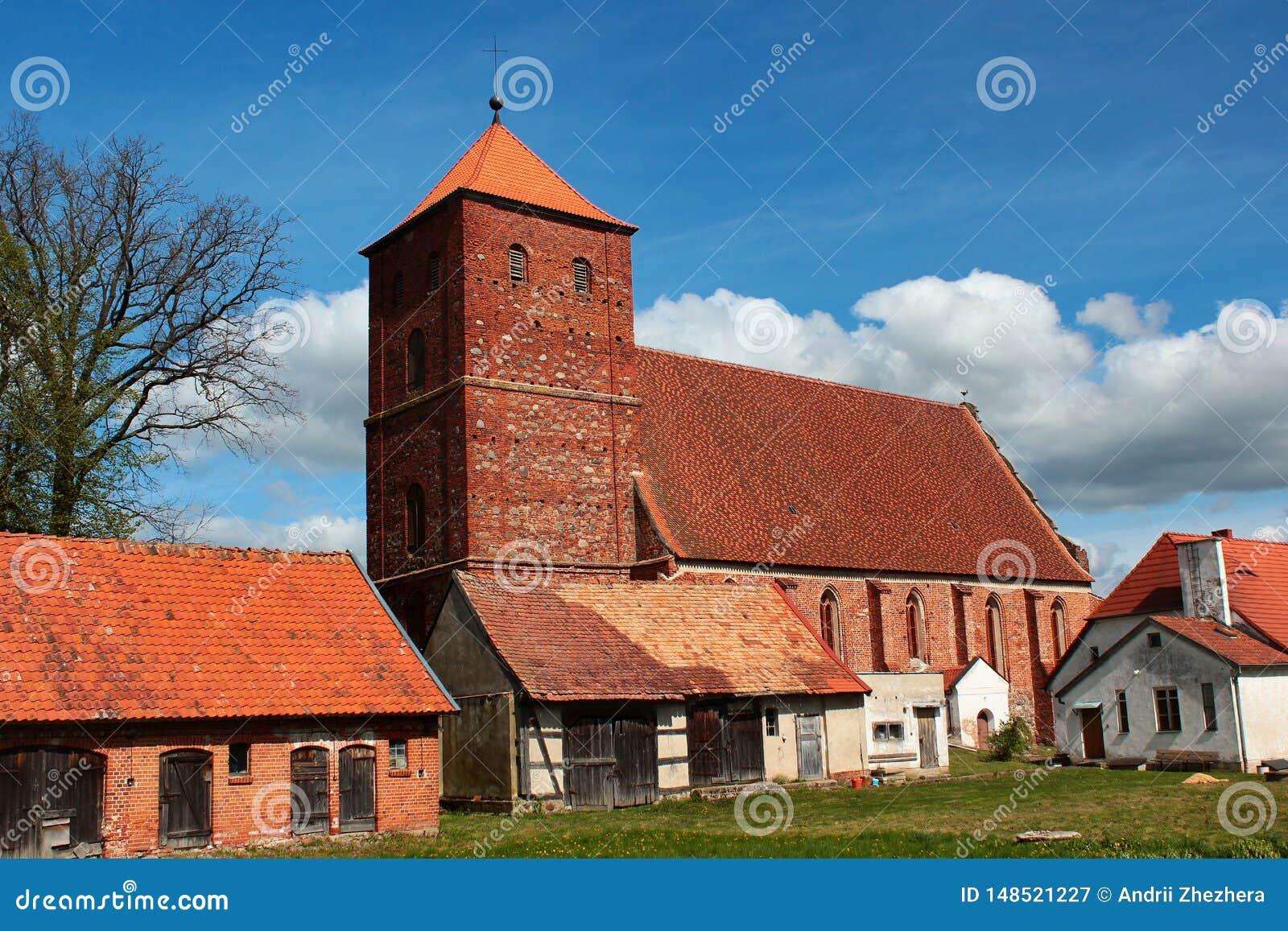 Gocki kościół Niepokalany serce Błogosławiony maryja dziewica w Barciany, Warmian-Masurian Voivodeship, Polska