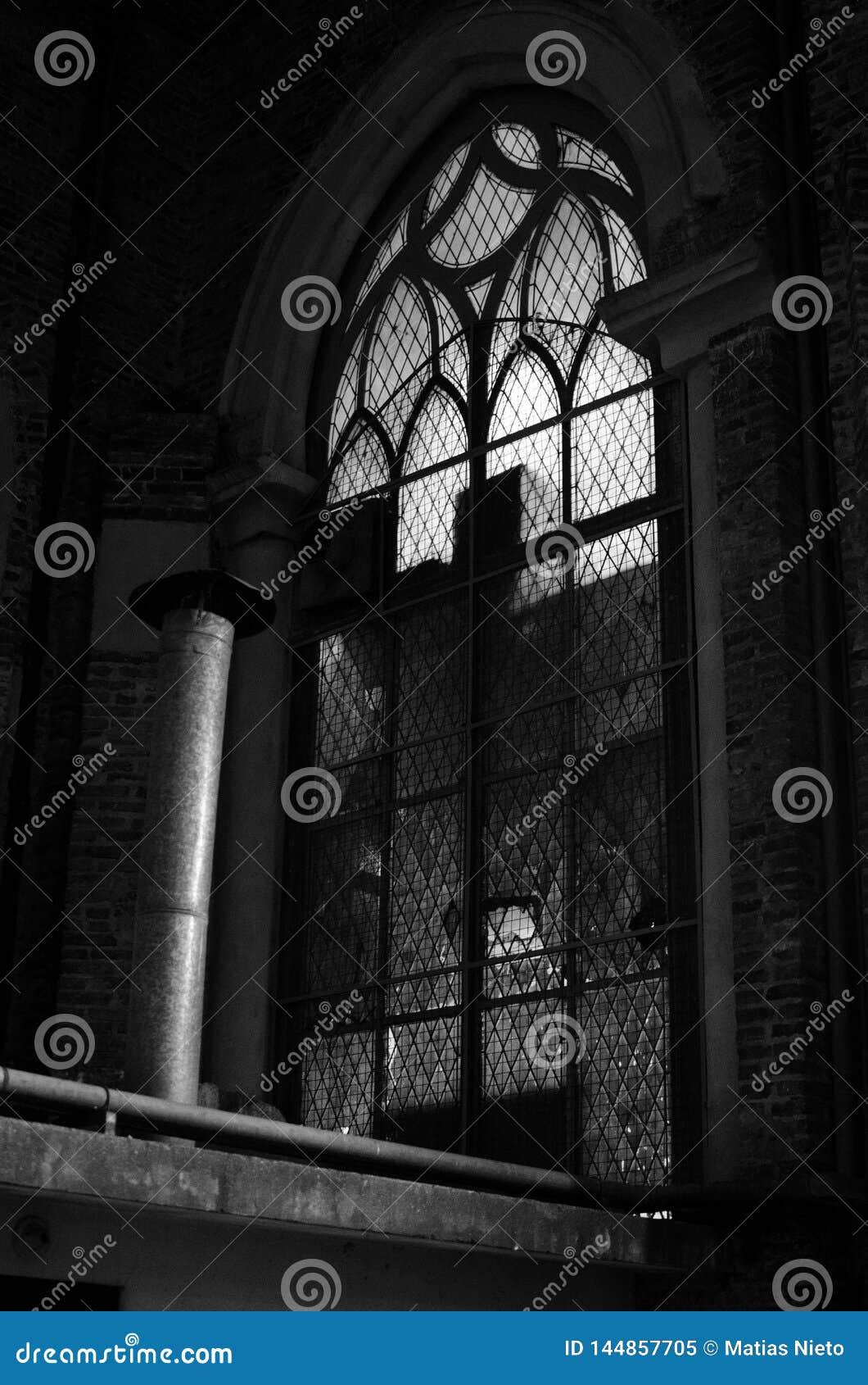 Gocki okno antykwarska katedra strzelał w czarny i biały