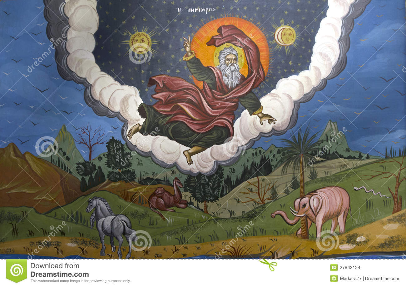 God creating the world stock photo image of clouds for Creating a mural