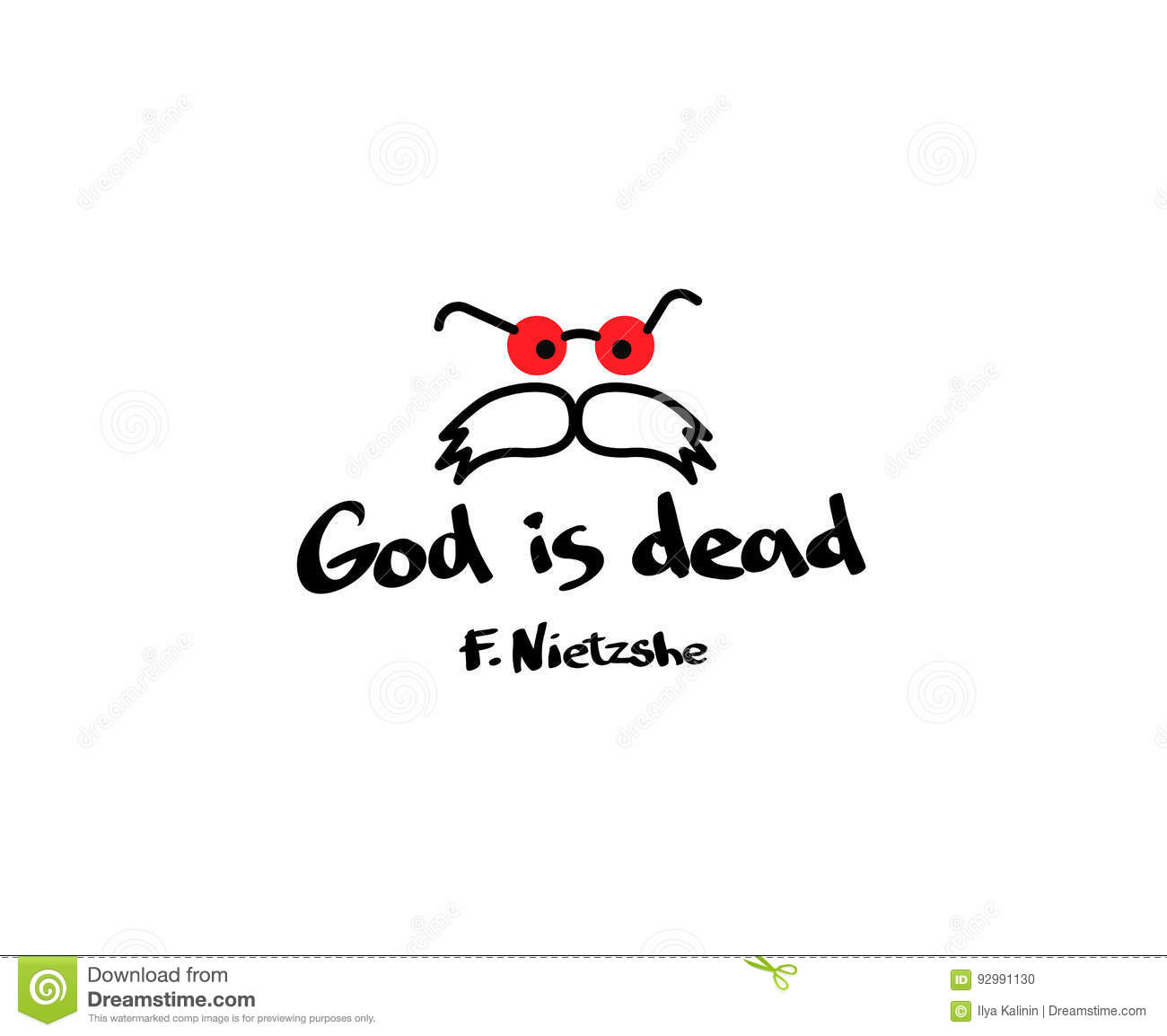 God Is Dead Quotation With Picture On T Shirt Clothes The Thought