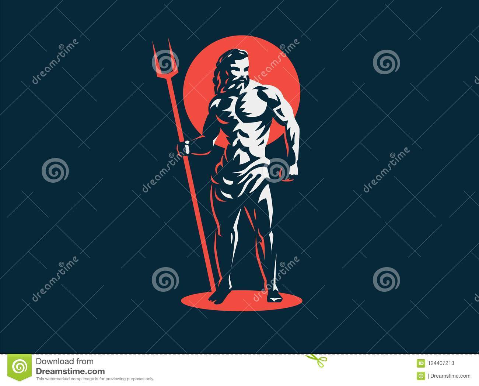 God Hades Or Pluto Vector Emblem Stock Vector Illustration Of