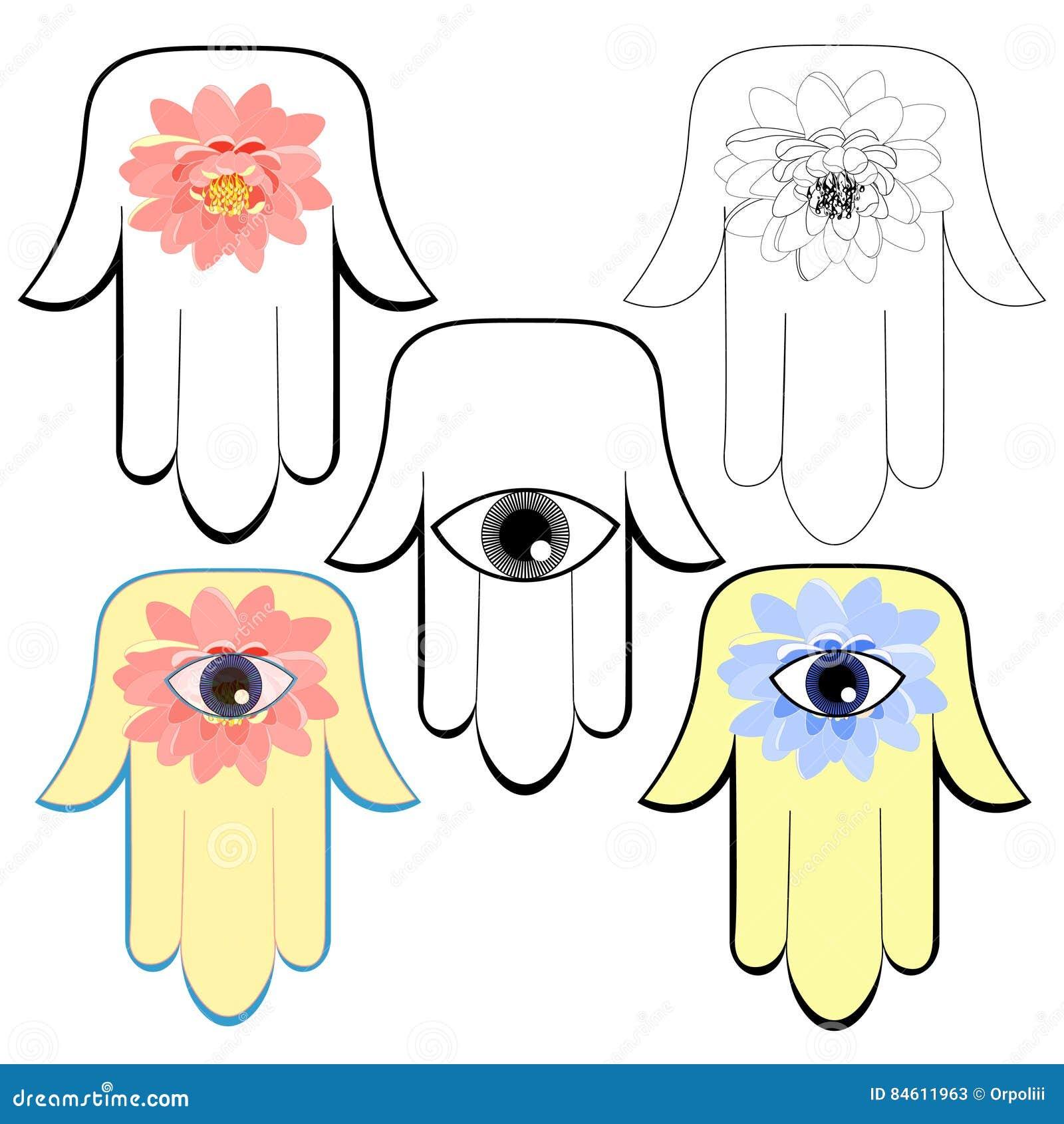 Set Of Hamsa Hand Hand Of Fatima Stock Vector Illustration Of