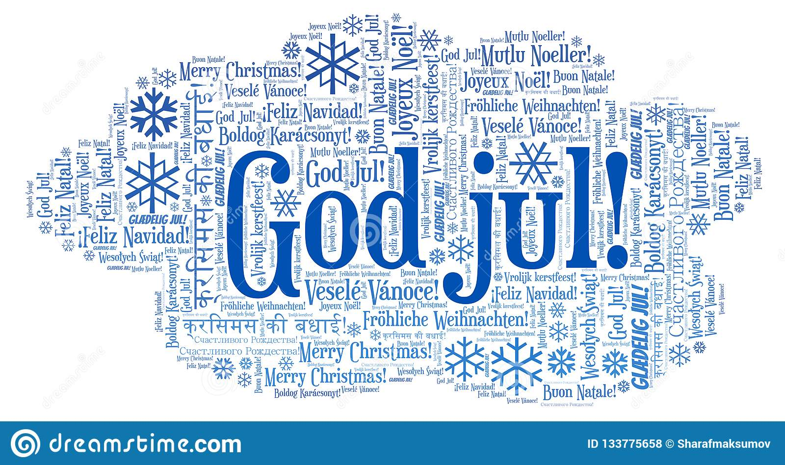 God jul word cloud - Merry Christmas on Norwegian language and other different languages